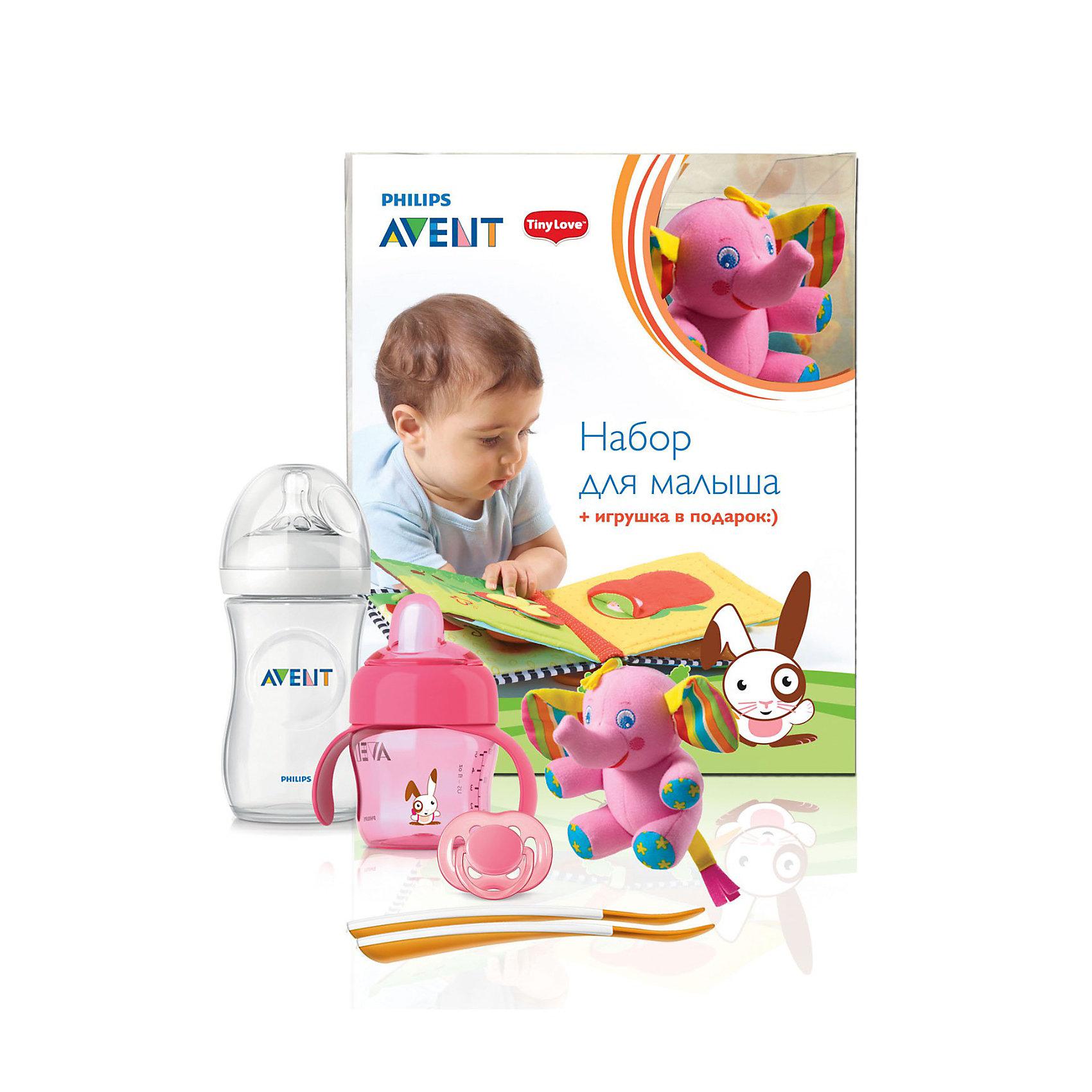 Набор для малыша с игрушкой, AVENT, розовыйНабор для малыша AVENT (Авент) с игрушкой, розовый - превосходный комплект для новорожденного и растущего малыша! <br><br>В состав набора входит:<br>1. Пустышка силиконовая FREEFLOW (ФриФлоу) 6-18 мес. BPA-Free, 1 шт. -  сочетает в себе ортодонтические свойства, которые учитывают строение и естественное развитие неба, зубов и десен ребенка, а изогнутый ободок FreeFlow (ФриФлоу) имеет 6 вентиляционных отверстий, что помогает предотвратить раздражение чувствительной кожи малыша<br><br>2. Развивающая игрушка Слоненок Елис 1 шт.  Игрушку можно закрепить на коляске, коврике, кроватке или автокресле малыша с помощью надежного крепления-краб. К развивающим элементам Слоненка относятся: погремушка-колокольчик внутри слоненка, шуршащие уши, а так же вибрирующий механизм самой подвески (при притягивании слоника к себе, он начинает вибрировать и возвращаться в исходное положение). Материал: высококачественная пластмасса в сочетании с полиэстером и хлопком.<br><br>3. Бутылочка для кормления. Серия Natural (Натурал), 260 мл, 1 шт. Благодаря инновационному дизайну малышу теперь легче захватить соску, а его сосательные движения будут такими же, как при кормлении грудью. Инновационный двойной клапан снижает вероятность колик, так как воздух поступает в бутылочку, а не в животик малыша. Материалы: полипропилен, не содержит бисфенол-A.<br><br>4. Чашка-поильник с носиком, 200 мл, 1 шт. Мягкий герметичный носик с запатентованным клапаном внутри контролирует поток, предотвращая проливание, даже если емкость с жидкостью переворачивается<br>Полностью совместима со всеми чашками и бутылочками AVENT (Авент). Можно мыть в посудомоечной машине, можно стерилизовать. Изготавливаются из полипропилена и силикона, не содержат бисфенол-А.<br><br>5. Ложки для введения прикорма, 2шт. Длинная нескользящая  ручка (длина ложки: 15,5 см) идеальна для рук взрослого и для кормления из глубоких емкостей. В комплекте: 2 ложки. Материалы: полипропилен, не содержат би