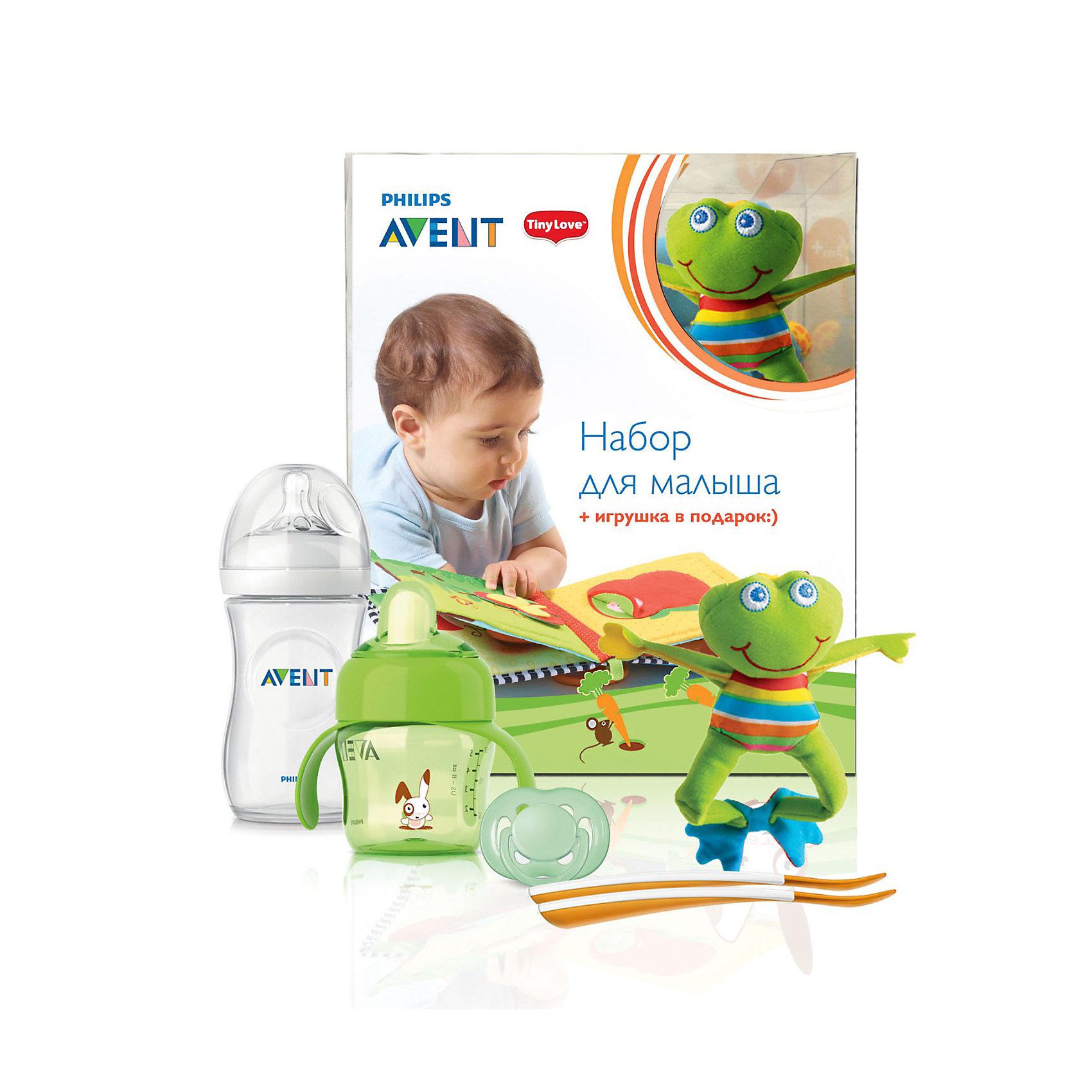 Набор для малыша с игрушкой, AVENT, зелёныйИдеи подарков<br>Набор для малыша AVENT (Авент) с игрушкой, зеленый - превосходный комплект для новорожденного и растущего малыша! <br><br>В состав набора входит:<br>1. Пустышка силиконовая FREEFLOW (ФриФлоу) 6-18 мес. BPA-Free, 1 шт. -  сочетает в себе ортодонтические свойства, которые учитывают строение и естественное развитие неба, зубов и десен ребенка, а изогнутый ободок FreeFlow (ФриФлоу) имеет 6 вентиляционных отверстий, что помогает предотвратить раздражение чувствительной кожи малыша<br><br>2. Развивающая игрушка Лягушонок Френки, 1 шт. Мягкая погремушка с шуршащими лапками и вибрирующим эффектом при растягивании. Если игрушку потрясти — раздастся характерный для погремушки звук. Размер игрушки (без клипсы): 13х14х17 см<br><br>3. Бутылочка для кормления. Серия Natural (Натурал), 260 мл, 1 шт. Благодаря инновационному дизайну малышу теперь легче захватить соску, а его сосательные движения будут такими же, как при кормлении грудью. Инновационный двойной клапан снижает вероятность колик, так как воздух поступает в бутылочку, а не в животик малыша. Материалы: полипропилен, не содержит бисфенол-A.<br><br>4. Чашка-поильник с носиком, 200 мл, 1 шт. Мягкий герметичный носик с запатентованным клапаном внутри контролирует поток, предотвращая проливание, даже если емкость с жидкостью переворачивается<br>Полностью совместима со всеми чашками и бутылочками AVENT (Авент). Можно мыть в посудомоечной машине, можно стерилизовать. Изготавливаются из полипропилена и силикона, не содержат бисфенол-А.<br><br>5. Ложки для введения прикорма, 2шт. Длинная нескользящая  ручка (длина ложки: 15,5 см) идеальна для рук взрослого и для кормления из глубоких емкостей. В комплекте: 2 ложки. Материалы: полипропилен, не содержат бисфенол-А.<br><br>Набор для малыша AVENT с игрушкой, зелёный можно купить в нашем магазине.<br><br>Ширина мм: 200<br>Глубина мм: 106<br>Высота мм: 245<br>Вес г: 478<br>Цвет: зеленый<br>Возраст от месяцев: 0<br>Возраст до м