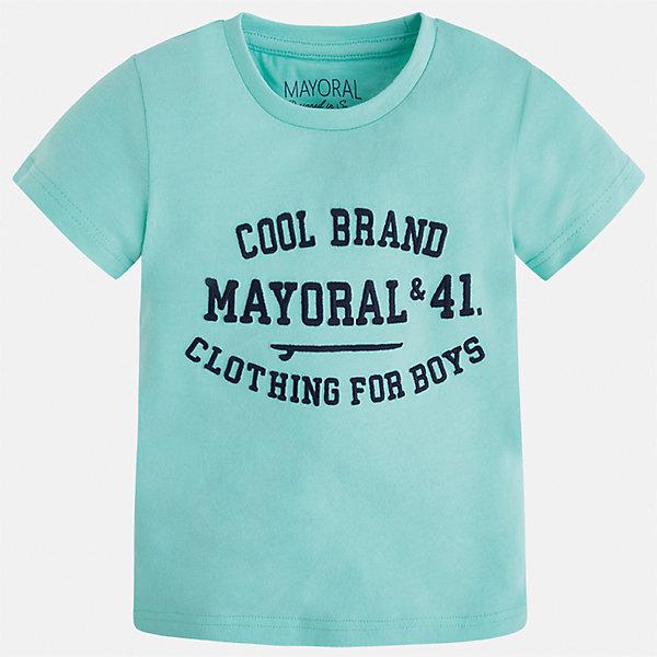 Футболка для мальчика MayoralФутболки, поло и топы<br>Характеристики товара:<br><br>• цвет: зеленый<br>• состав: 100% хлопок<br>• круглый горловой вырез<br>• принт впереди<br>• короткие рукава<br>• декорирована принтом<br>• страна бренда: Испания<br><br>Стильная футболка с принтом поможет разнообразить гардероб мальчика. Она отлично сочетается с брюками, шортами, джинсами и т.д. Универсальный крой и цвет позволяет подобрать к вещи низ разных расцветок. Практичное и стильное изделие! В составе материала - только натуральный хлопок, гипоаллергенный, приятный на ощупь, дышащий.<br><br>Одежда, обувь и аксессуары от испанского бренда Mayoral полюбились детям и взрослым по всему миру. Модели этой марки - стильные и удобные. Для их производства используются только безопасные, качественные материалы и фурнитура. Порадуйте ребенка модными и красивыми вещами от Mayoral! <br><br>Футболку для мальчика от испанского бренда Mayoral (Майорал) можно купить в нашем интернет-магазине.<br><br>Ширина мм: 199<br>Глубина мм: 10<br>Высота мм: 161<br>Вес г: 151<br>Цвет: голубой<br>Возраст от месяцев: 18<br>Возраст до месяцев: 24<br>Пол: Мужской<br>Возраст: Детский<br>Размер: 92,110,98,104,116,122,128,134<br>SKU: 3516059