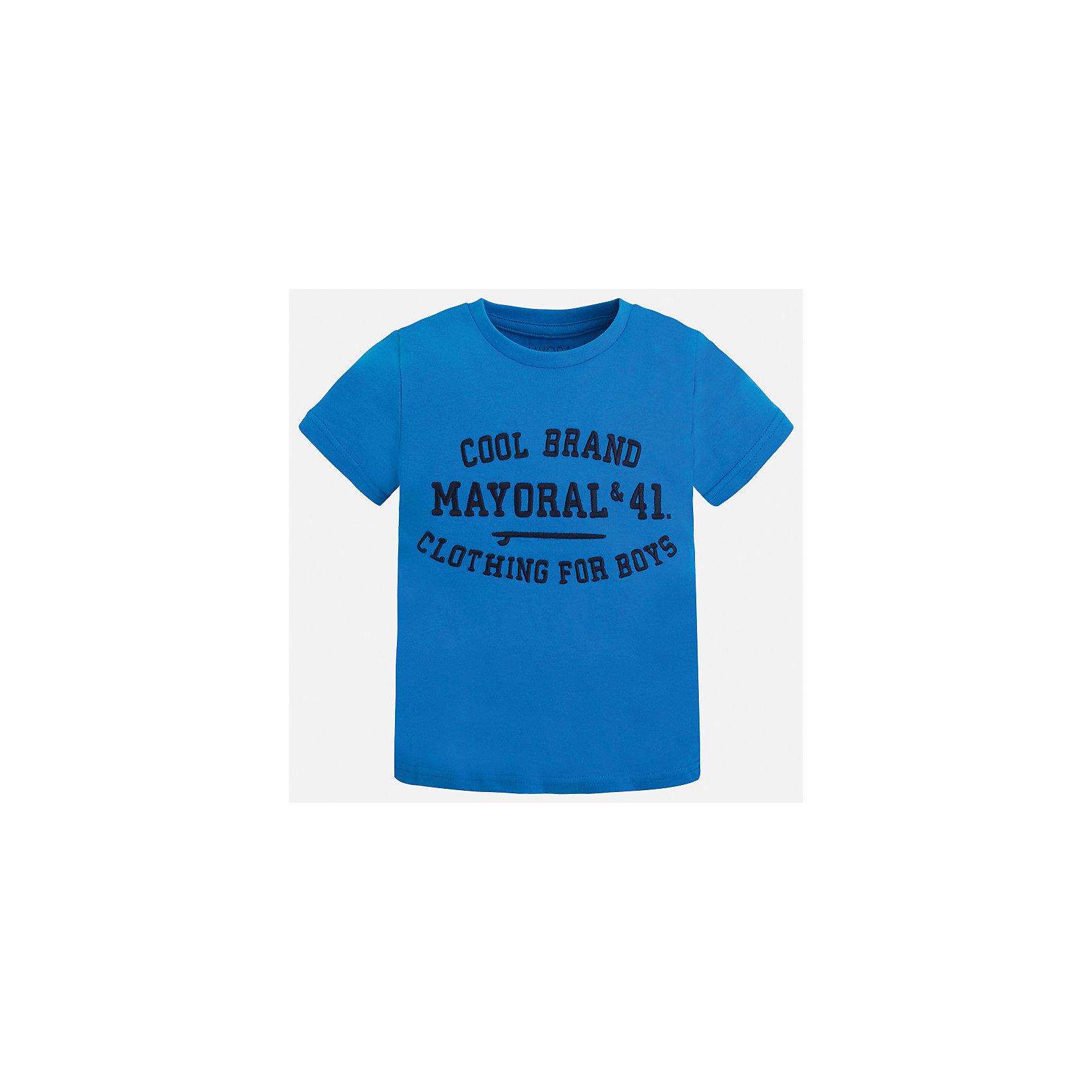 Футболка для мальчика MayoralФутболки, поло и топы<br>Характеристики товара:<br><br>• цвет: зеленый<br>• состав: 100% хлопок<br>• круглый горловой вырез<br>• принт впереди<br>• короткие рукава<br>• страна бренда: Испания<br><br>Стильная футболка с принтом поможет разнообразить гардероб мальчика. Она отлично сочетается с брюками, шортами, джинсами и т.д. Универсальный крой и цвет позволяет подобрать к вещи низ разных расцветок. Практичное и стильное изделие! В составе материала - только натуральный хлопок, гипоаллергенный, приятный на ощупь, дышащий.<br><br>Одежда, обувь и аксессуары от испанского бренда Mayoral полюбились детям и взрослым по всему миру. Модели этой марки - стильные и удобные. Для их производства используются только безопасные, качественные материалы и фурнитура. Порадуйте ребенка модными и красивыми вещами от Mayoral! <br><br>Футболку для мальчика от испанского бренда Mayoral (Майорал) можно купить в нашем интернет-магазине.<br><br>Ширина мм: 199<br>Глубина мм: 10<br>Высота мм: 161<br>Вес г: 151<br>Цвет: зеленый<br>Возраст от месяцев: 18<br>Возраст до месяцев: 24<br>Пол: Мужской<br>Возраст: Детский<br>Размер: 92,98,110,116,122,128,104,134<br>SKU: 3516067