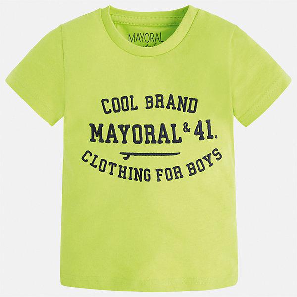 Футболка для мальчика MayoralФутболки, поло и топы<br>Характеристики товара:<br><br>• цвет: красный<br>• состав: 100% хлопок<br>• круглый горловой вырез<br>• принт впереди<br>• короткие рукава<br>• страна бренда: Испания<br><br>Стильная футболка с принтом поможет разнообразить гардероб мальчика. Она отлично сочетается с брюками, шортами, джинсами и т.д. Универсальный крой и цвет позволяет подобрать к вещи низ разных расцветок. Практичное и стильное изделие! В составе материала - только натуральный хлопок, гипоаллергенный, приятный на ощупь, дышащий.<br><br>Одежда, обувь и аксессуары от испанского бренда Mayoral полюбились детям и взрослым по всему миру. Модели этой марки - стильные и удобные. Для их производства используются только безопасные, качественные материалы и фурнитура. Порадуйте ребенка модными и красивыми вещами от Mayoral! <br><br>Футболку для мальчика от испанского бренда Mayoral (Майорал) можно купить в нашем интернет-магазине.<br><br>Ширина мм: 199<br>Глубина мм: 10<br>Высота мм: 161<br>Вес г: 151<br>Цвет: красный<br>Возраст от месяцев: 18<br>Возраст до месяцев: 24<br>Пол: Мужской<br>Возраст: Детский<br>Размер: 92,98,134,128,122,116,110,104<br>SKU: 3516075
