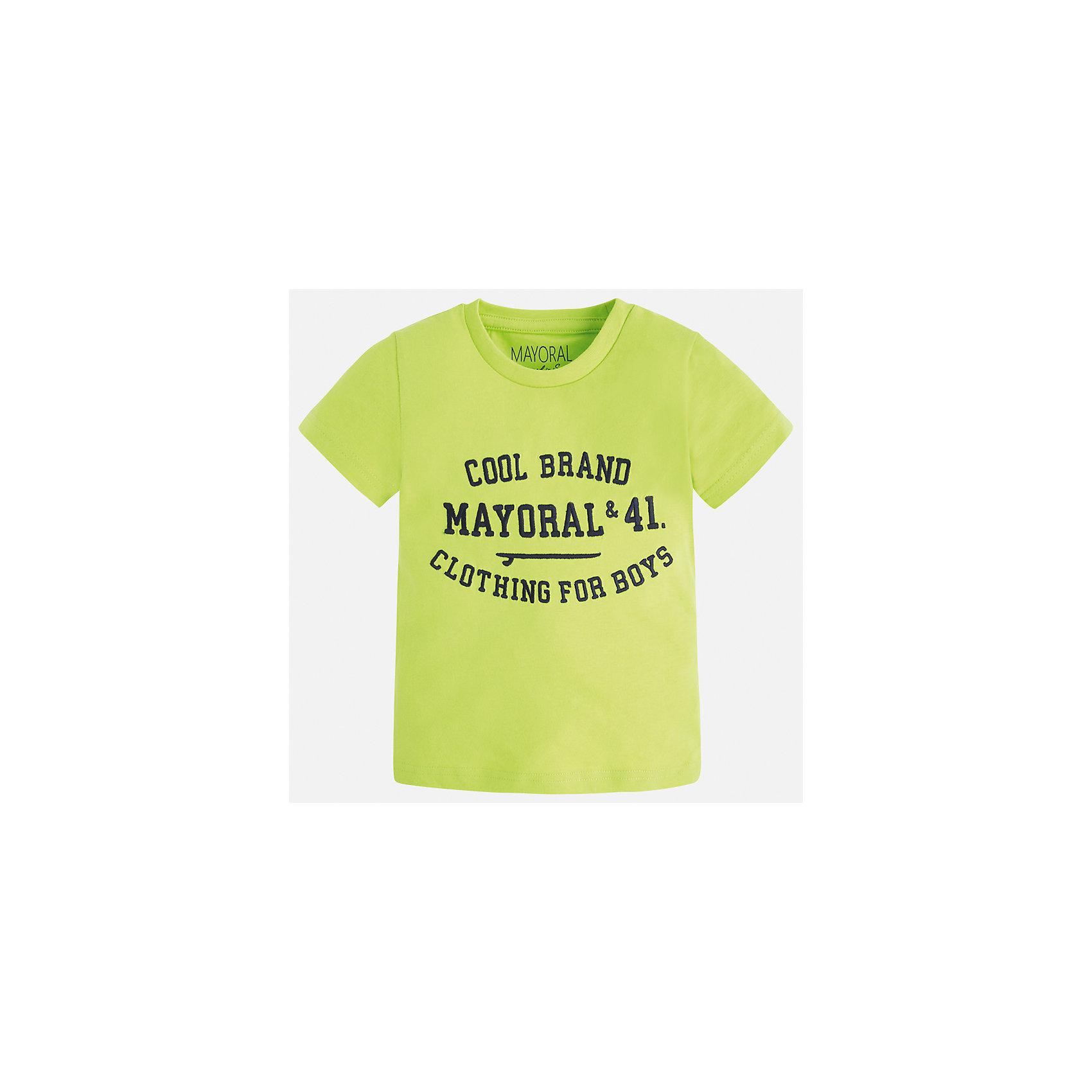 Футболка для мальчика MayoralХарактеристики товара:<br><br>• цвет: красный<br>• состав: 100% хлопок<br>• круглый горловой вырез<br>• принт впереди<br>• короткие рукава<br>• страна бренда: Испания<br><br>Стильная футболка с принтом поможет разнообразить гардероб мальчика. Она отлично сочетается с брюками, шортами, джинсами и т.д. Универсальный крой и цвет позволяет подобрать к вещи низ разных расцветок. Практичное и стильное изделие! В составе материала - только натуральный хлопок, гипоаллергенный, приятный на ощупь, дышащий.<br><br>Одежда, обувь и аксессуары от испанского бренда Mayoral полюбились детям и взрослым по всему миру. Модели этой марки - стильные и удобные. Для их производства используются только безопасные, качественные материалы и фурнитура. Порадуйте ребенка модными и красивыми вещами от Mayoral! <br><br>Футболку для мальчика от испанского бренда Mayoral (Майорал) можно купить в нашем интернет-магазине.<br><br>Ширина мм: 199<br>Глубина мм: 10<br>Высота мм: 161<br>Вес г: 151<br>Цвет: красный<br>Возраст от месяцев: 36<br>Возраст до месяцев: 48<br>Пол: Мужской<br>Возраст: Детский<br>Размер: 104,92,98,134,128,122,116,110<br>SKU: 3516075
