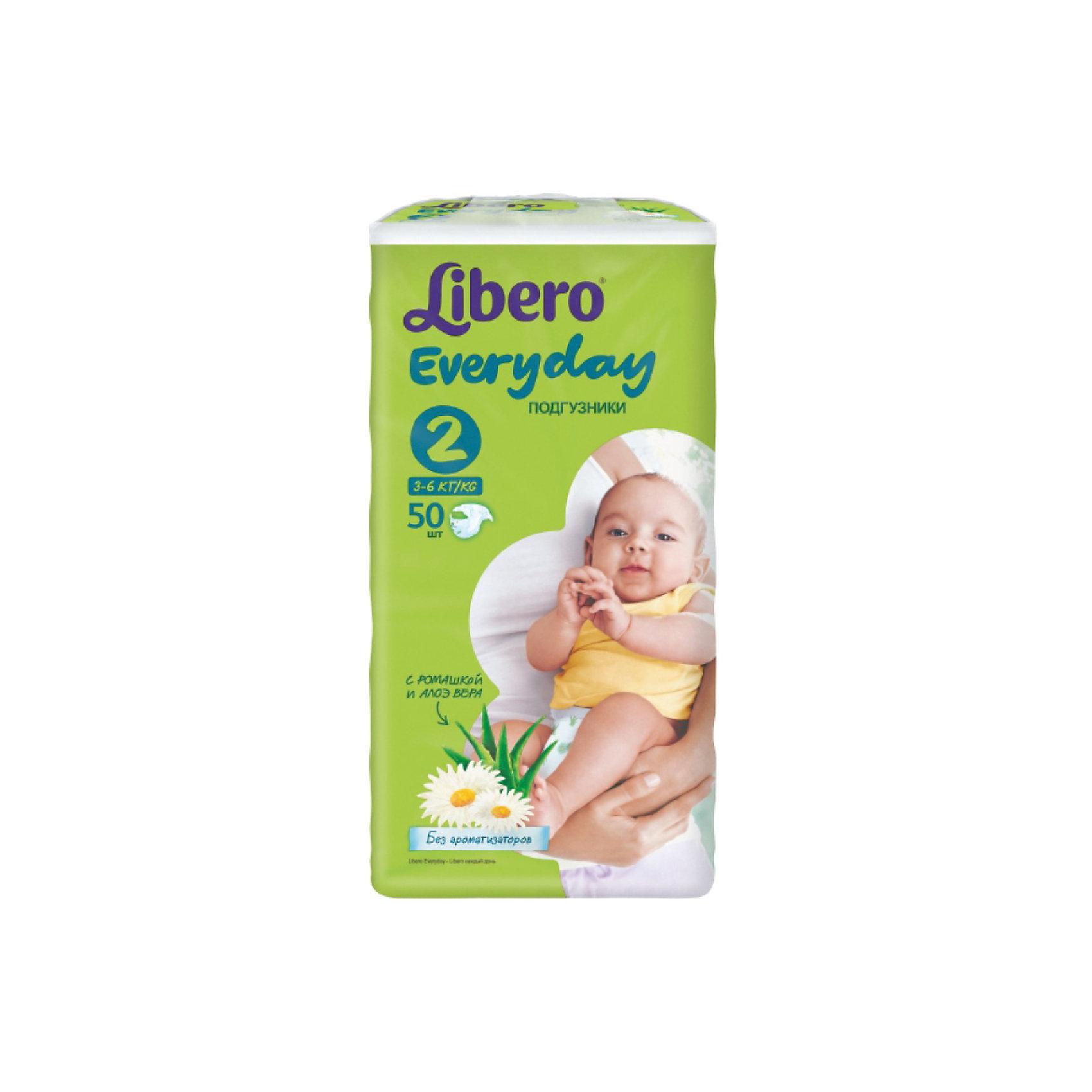 Подгузники Libero Everyday, Mini 3-6 кг (2), 50 шт., EconomПодгузники до 5 кг.<br>Подгузники Libero Everyday (Либеро Эвридэй) Size 2 (3-6кг), 50 шт.<br><br>Характеристики:<br><br>• быстро впитывают влагу и удерживают ее<br>• нетканый дышащий материал<br>• эластичная резиночка не сковывает движения ребенка<br>• мягкий барьер вокруг ног защитит от протеканий<br>• приятный рисунок<br>• многоразовые застежки<br>• размер: 2 (от 3 до 6 кг)<br>• количество в упаковке: 50 шт.<br><br>Подгузники Libero Everyday подарят сухость и комфорт вашему малышу. Подгузники плотно прилегают к телу и не сковывают движения крохи, благодаря эластичному поясу. Нетканый материал подгузника имеет отверстия для циркуляции воздуха, позволяющие коже дышать, что особенно важно для новорожденных. Внутренний слой быстро впитывает влагу, равномерно распределяет и удерживает ее внутри. <br>Ромашка и алоэ бережно позаботятся о коже малыша и не допустят воспаления и раздражения. Подарите крохе комфорт с подгузниками Libero Everyday!<br><br>Подгузники Libero Everyday (Либеро Эвридэй) Size 2 (3-6кг), 50 шт вы можете купить в нашем интернет-магазине.<br><br>Ширина мм: 115<br>Глубина мм: 195<br>Высота мм: 370<br>Вес г: 1078<br>Возраст от месяцев: 0<br>Возраст до месяцев: 3<br>Пол: Унисекс<br>Возраст: Детский<br>SKU: 3517601
