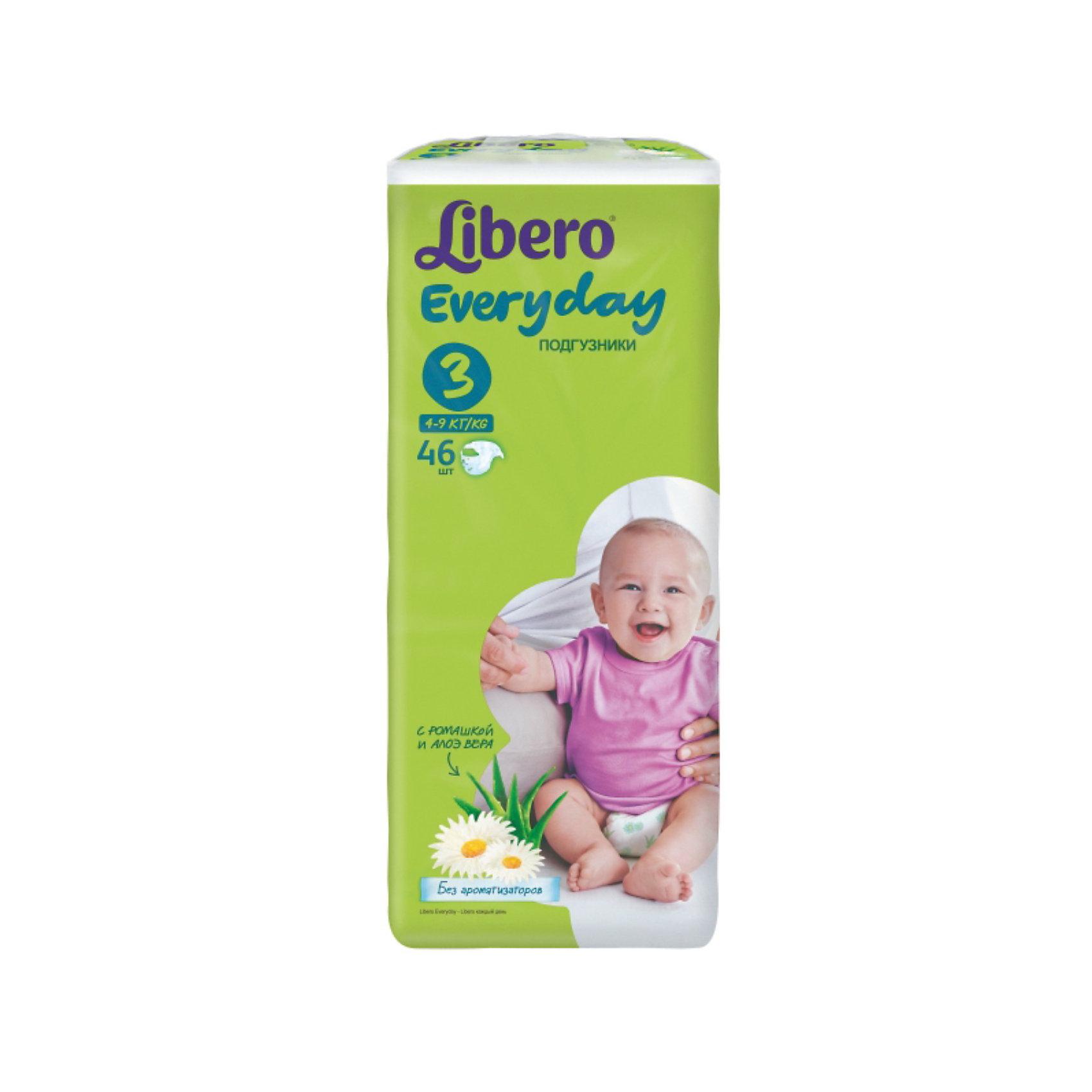 Подгузники Libero Everyday, Midi 4-9 кг (3), 46 шт., EconomПодгузники 5-12 кг.<br>Подгузники Libero Everyday (Либеро Эвридэй) Size 3 (4-9кг), 46 шт.<br><br>Характеристики:<br><br>• быстро впитывают влагу и удерживают ее<br>• нетканый дышащий материал<br>• эластичная резиночка не сковывает движения ребенка<br>• мягкий барьер вокруг ног защитит от протеканий<br>• приятный рисунок<br>• многоразовые застежки<br>• размер: 3 (от 4 до 9 кг)<br>• количество в упаковке: 46 шт.<br><br>Подгузники Libero Everyday подарят сухость и комфорт вашему малышу. Подгузники плотно прилегают к телу и не сковывают движения крохи, благодаря эластичному поясу. Нетканый материал подгузника имеет отверстия для циркуляции воздуха, позволяющие коже дышать. Внутренний слой быстро впитывает влагу, равномерно распределяет и удерживает ее внутри. <br>Ромашка и алоэ бережно позаботятся о коже малыша и не допустят воспаления и раздражения. Подарите крохе комфорт с подгузниками Libero Everyday!<br><br>Подгузники Libero Everyday (Либеро Эвридэй) Size 3 (4-9кг), 46 шт. можно купить в нашем интернет-магазине.<br><br>Ширина мм: 115<br>Глубина мм: 195<br>Высота мм: 405<br>Вес г: 1370<br>Возраст от месяцев: 0<br>Возраст до месяцев: 9<br>Пол: Унисекс<br>Возраст: Детский<br>SKU: 3517602