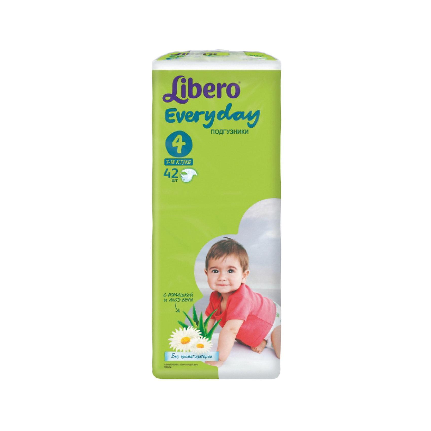 Подгузники Libero Everyday, Maxi 7-18 кг (4), 42 шт., EconomПодгузники классические<br>Подгузники Libero Everyday (Либеро Эвридэй) Size 4 (7-18кг), 42 шт.<br><br>Характеристики:<br><br>• быстро впитывают влагу и удерживают ее<br>• нетканый дышащий материал<br>• эластичная резиночка не сковывает движения ребенка<br>• мягкий барьер вокруг ног защитит от протеканий<br>• приятный рисунок<br>• многоразовые застежки<br>• размер: 4 (от 7 до 18 кг)<br>• количество в упаковке: 42 шт.<br><br>Подгузники Libero Everyday подарят сухость и комфорт вашему малышу. Подгузники плотно прилегают к телу и не сковывают движения крохи, благодаря эластичному поясу. Нетканый материал подгузника имеет отверстия для циркуляции воздуха, позволяющие коже дышать. Внутренний слой быстро впитывает влагу, равномерно распределяет и удерживает ее внутри. <br>Ромашка и алоэ бережно позаботятся о коже малыша и не допустят воспаления и раздражения. Подарите крохе комфорт с подгузниками Libero Everyday!<br><br>Подгузники Libero Everyday (Либеро Эвридэй) Size 4 (7-18кг), 42 шт. можно купить в нашем интернет-магазине.<br><br>Ширина мм: 127<br>Глубина мм: 195<br>Высота мм: 440<br>Вес г: 1332<br>Возраст от месяцев: 6<br>Возраст до месяцев: 36<br>Пол: Унисекс<br>Возраст: Детский<br>SKU: 3517603