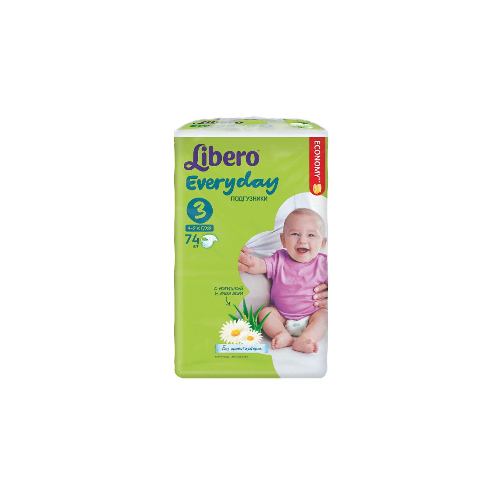 Подгузники Libero Everyday, Midi 4-9 кг (3), 74 шт., MegaПодгузники 6-10 кг<br>Подгузники Libero Everyday (Либеро Эвридэй) Size 3 (4-9кг), 74 шт.<br><br>Характеристики:<br><br>• быстро впитывают влагу и удерживают ее<br>• нетканый дышащий материал<br>• эластичная резиночка не сковывает движения ребенка<br>• мягкий барьер вокруг ног защитит от протеканий<br>• приятный рисунок<br>• многоразовые застежки<br>• размер: 3 (от 4 до 9 кг)<br>• количество в упаковке: 74 шт.<br><br>Подгузники Libero Everyday подарят сухость и комфорт вашему малышу. Подгузники плотно прилегают к телу и не сковывают движения крохи, благодаря эластичному поясу. Нетканый материал подгузника имеет отверстия для циркуляции воздуха, позволяющие коже дышать. Внутренний слой быстро впитывает влагу, равномерно распределяет и удерживает ее внутри. <br>Ромашка и алоэ бережно позаботятся о коже малыша и не допустят воспаления и раздражения. Подарите крохе комфорт с подгузниками Libero Everyday!<br><br>Подгузники Libero Everyday (Либеро Эвридэй) Size 3 (4-9кг), 74 шт. можно купить в нашем интернет-магазине.<br><br>Ширина мм: 115<br>Глубина мм: 240<br>Высота мм: 405<br>Вес г: 2145<br>Возраст от месяцев: 0<br>Возраст до месяцев: 9<br>Пол: Унисекс<br>Возраст: Детский<br>SKU: 3517605