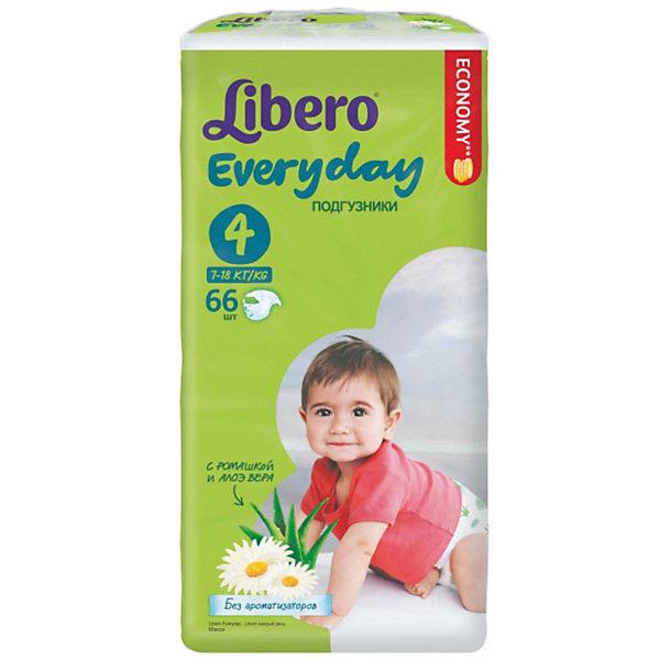 Подгузники Libero Everyday, Maxi 7-18 кг (4), 66 шт., MegaПодгузники классические<br>Подгузники Libero Everyday (Либеро Эвридэй) Size 4 (7-18кг), 66 шт.<br><br>Характеристики:<br><br>• быстро впитывают влагу и удерживают ее<br>• нетканый дышащий материал<br>• эластичная резиночка не сковывает движения ребенка<br>• мягкий барьер вокруг ног защитит от протеканий<br>• приятный рисунок<br>• многоразовые застежки<br>• размер: 4 (от 7 до 18 кг)<br>• количество в упаковке: 66 шт.<br><br>Подгузники Libero Everyday подарят сухость и комфорт вашему малышу. Подгузники плотно прилегают к телу и не сковывают движения крохи, благодаря эластичному поясу. Нетканый материал подгузника имеет отверстия для циркуляции воздуха, позволяющие коже дышать. Внутренний слой быстро впитывает влагу, равномерно распределяет и удерживает ее внутри. <br>Ромашка и алоэ бережно позаботятся о коже малыша и не допустят воспаления и раздражения. Подарите крохе комфорт с подгузниками Libero Everyday!<br><br>Подгузники Libero Everyday (Либеро Эвридэй) Size 4 (7-18кг), 66 шт. можно купить в нашем интернет-магазине.<br><br>Ширина мм: 127<br>Глубина мм: 240<br>Высота мм: 440<br>Вес г: 1940<br>Возраст от месяцев: 6<br>Возраст до месяцев: 36<br>Пол: Унисекс<br>Возраст: Детский<br>SKU: 3517606