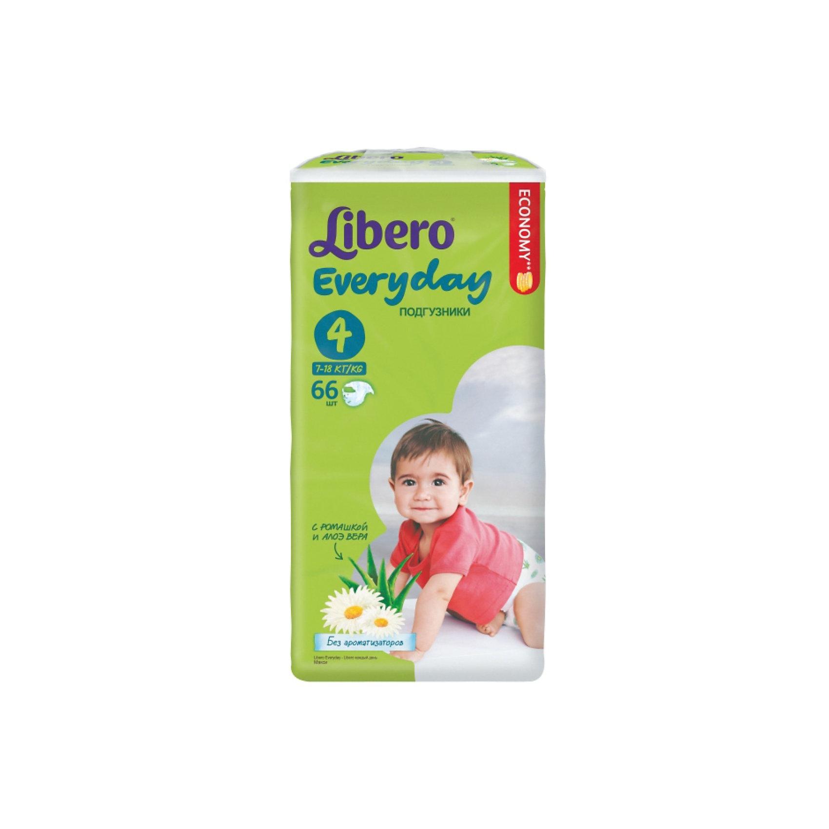 Подгузники Libero Everyday, Maxi 7-18 кг (4), 66 шт., MegaПодгузники 6-10 кг<br>Подгузники Libero Everyday (Либеро Эвридэй) Size 4 (7-18кг), 66 шт.<br><br>Характеристики:<br><br>• быстро впитывают влагу и удерживают ее<br>• нетканый дышащий материал<br>• эластичная резиночка не сковывает движения ребенка<br>• мягкий барьер вокруг ног защитит от протеканий<br>• приятный рисунок<br>• многоразовые застежки<br>• размер: 4 (от 7 до 18 кг)<br>• количество в упаковке: 66 шт.<br><br>Подгузники Libero Everyday подарят сухость и комфорт вашему малышу. Подгузники плотно прилегают к телу и не сковывают движения крохи, благодаря эластичному поясу. Нетканый материал подгузника имеет отверстия для циркуляции воздуха, позволяющие коже дышать. Внутренний слой быстро впитывает влагу, равномерно распределяет и удерживает ее внутри. <br>Ромашка и алоэ бережно позаботятся о коже малыша и не допустят воспаления и раздражения. Подарите крохе комфорт с подгузниками Libero Everyday!<br><br>Подгузники Libero Everyday (Либеро Эвридэй) Size 4 (7-18кг), 66 шт. можно купить в нашем интернет-магазине.<br><br>Ширина мм: 127<br>Глубина мм: 240<br>Высота мм: 440<br>Вес г: 1940<br>Возраст от месяцев: 6<br>Возраст до месяцев: 36<br>Пол: Унисекс<br>Возраст: Детский<br>SKU: 3517606