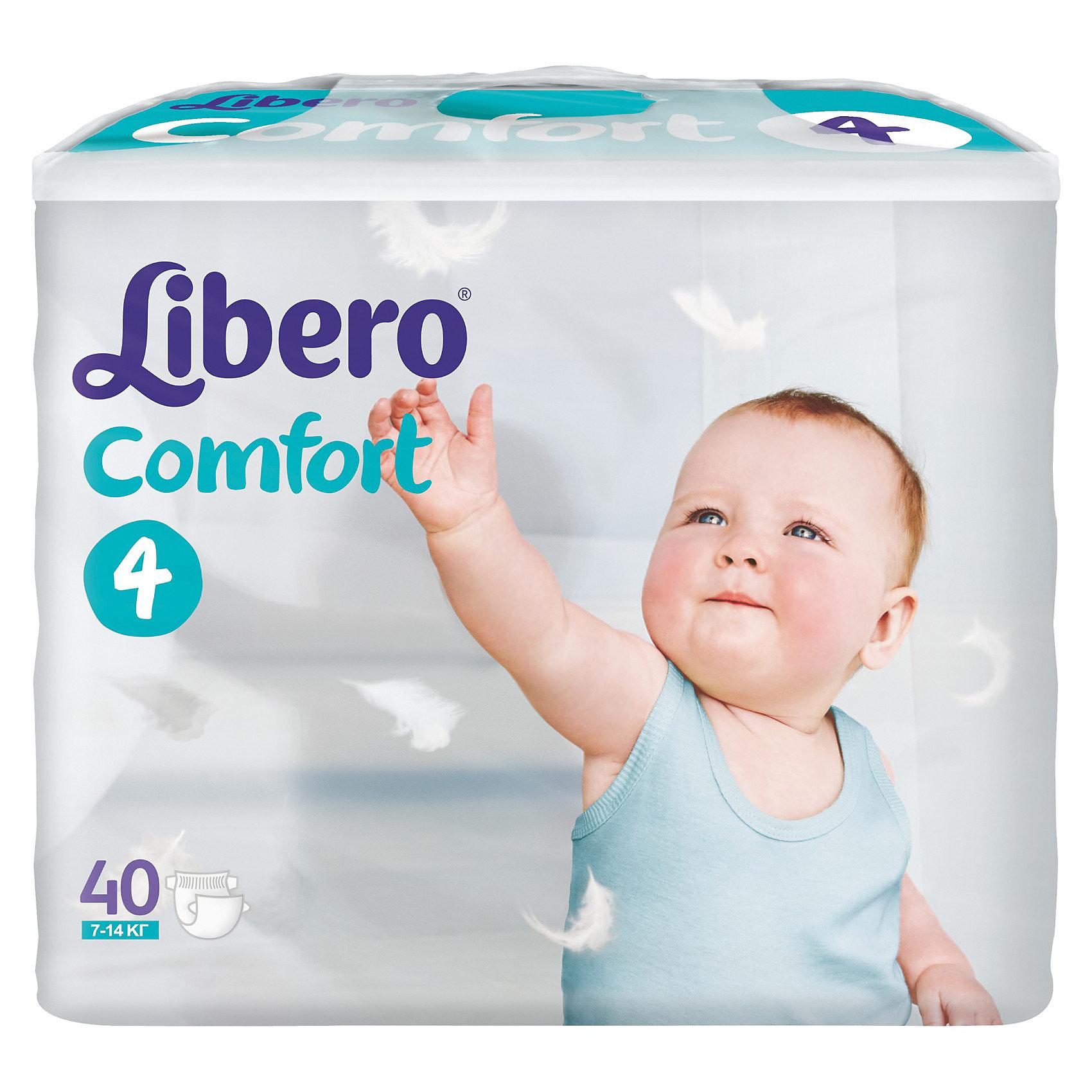 Подгузники Libero Comfort, Maxi 7-14 кг (4), 40 шт.Подгузники 5-12 кг.<br>Ультратонкие и мягкие подгузники с плотным абсорбционным слоем Libero Comfort (Либеро Комфорт), изготовленные из натуральных материалов, предотвращают возникновение сыпи и зуда, а также сохраняют кожу сухой в течение 12 часов. Широкие тянущиеся боковинки и эластичный поясок обеспечивают комфортное прилегание и защищают от протеканий. Мягкие барьерчики анатомической формы вокруг ножек не натирают нежную кожу, а микроскопические отверстия обеспечивают циркуляцию воздуха, чтобы попка не сопрела. На поясе расположен цветной индикатор, который поможет подобрать памперс по размеру: в правильном положении застежки должны находиться по центру.<br><br>Дополнительная информация:<br><br>- Размер: 4, Maxi 7-14 кг<br>- В упаковке: 40 шт. <br><br>Подгузники Libero Comfort (Либеро Комфорт), Maxi 7-14 кг (4), 40 шт. можно купить в нашем интернет-магазине.<br><br>Ширина мм: 127<br>Глубина мм: 285<br>Высота мм: 218<br>Вес г: 1400<br>Возраст от месяцев: 6<br>Возраст до месяцев: 36<br>Пол: Унисекс<br>Возраст: Детский<br>SKU: 3517616