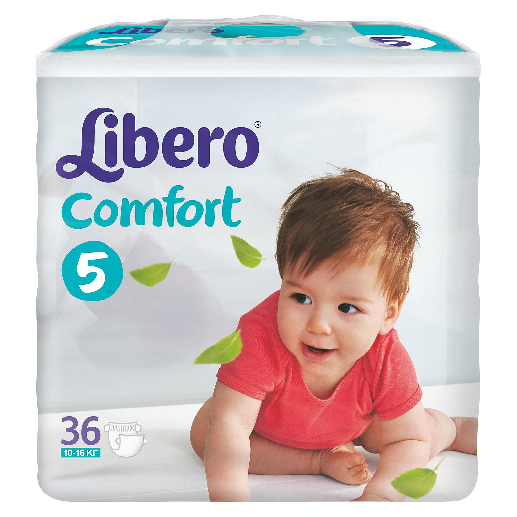 Подгузники Libero Comfort, Maxi Plus 10-16 кг (5), 36 шт.Подгузники классические<br>Ультратонкие и мягкие подгузники с плотным абсорбционным слоем Libero Comfort (Либеро Комфорт), изготовленные из натуральных материалов, предотвращают возникновение сыпи и зуда, а также сохраняют кожу сухой в течение 12 часов. Широкие тянущиеся боковинки и эластичный поясок обеспечивают комфортное прилегание и защищают от протеканий. Мягкие барьерчики анатомической формы вокруг ножек не натирают нежную кожу, а микроскопические отверстия обеспечивают циркуляцию воздуха, чтобы попка не сопрела. На поясе расположен цветной индикатор, который поможет подобрать памперс по размеру: в правильном положении застежки должны находиться по центру.<br><br>Дополнительная информация:<br><br>- Размер: 5, Maxi Plus 10-16 кг<br>- В упаковке: 36 шт.<br><br>Подгузники Libero Comfort (Либеро Комфорт), Maxi Plus 10-16 кг (5), 36 шт. можно купить в нашем интернет-магазине.<br><br>Ширина мм: 127<br>Глубина мм: 240<br>Высота мм: 218<br>Вес г: 1316<br>Возраст от месяцев: 6<br>Возраст до месяцев: 36<br>Пол: Унисекс<br>Возраст: Детский<br>SKU: 3517617
