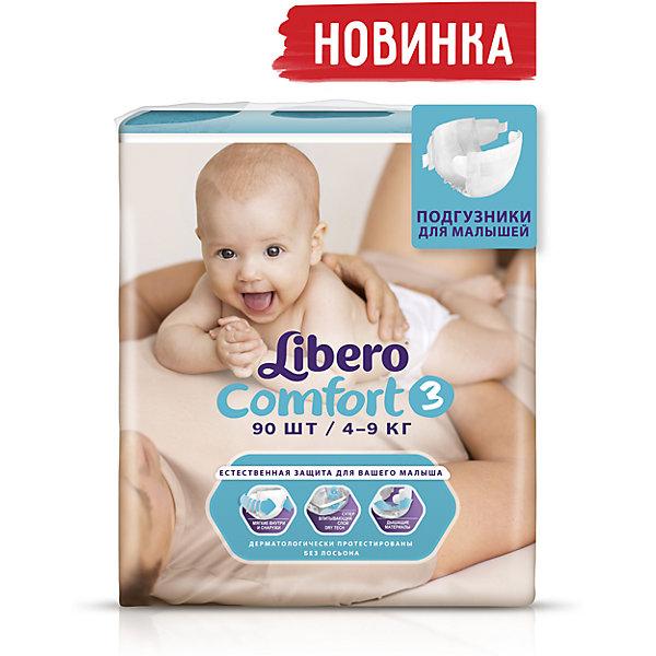 Подгузники Comfort, Mega Plus Midi 4-9 кг (3), 90 шт., LiberoПодгузники 11-15 кг<br>Подгузники Libero Comfort (Либеро Комфорт) Zoo Collection Size 3 (4-9кг), 90 шт.<br><br>Характеристики: <br><br>• мягкие и тонкие подгузники<br>• отлично впитывают и удерживают влагу<br>• дышащие материалы<br>• барьеры вокруг ножек защищают от протекания<br>• не сковывают движений<br>• анатомические резиночки<br>• 2 ярких дизайна в каждой упаковке<br>• размер: 3 (4-9 кг)<br>• количество в упаковке: 90 шт.<br><br>Подгузники Libero Comfort из коллекции Зоопарк идеально подойдут для самых активных малышей. Подгузники имеют приятный дизайн, который понравится и ребенку, и родителям: 2 разные расцветки в каждой упаковке. Предложите малышу изучить животных, расскажите интересную историю, и кроха с радостью согласиться переодеться.  Несмотря на небольшую толщину, подгузники отлично впитывают и удерживают влагу, не сковывая движений крохи. Барьеры вокруг ножек и эластичный пояс предотвратят возможные протекания. Многоразовая застежка позволит вам застегнуть подгузник повторно с случае необходимости.  С этими трусиками-подгузниками процесс переодевания превратится в настоящую игру!<br><br>Подгузники Libero Comfort Zoo Collection Size 3 (4-9кг), 90 шт вы можете приобрести в нашем интернет-магазине.<br><br>Ширина мм: 127<br>Глубина мм: 285<br>Высота мм: 440<br>Вес г: 2795<br>Возраст от месяцев: 0<br>Возраст до месяцев: 9<br>Пол: Унисекс<br>Возраст: Детский<br>SKU: 3517621