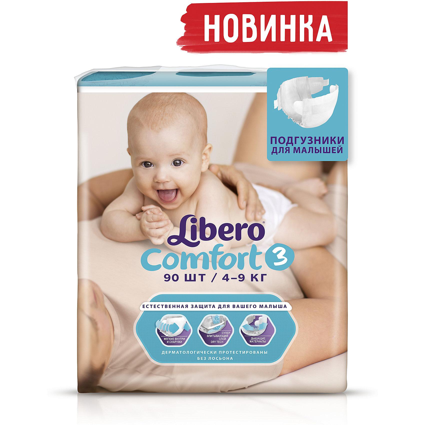 Подгузники Comfort, Mega Plus Midi 4-9 кг (3), 90 шт., LiberoПодгузники Libero Comfort (Либеро Комфорт) Zoo Collection Size 3 (4-9кг), 90 шт.<br><br>Характеристики: <br><br>• мягкие и тонкие подгузники<br>• отлично впитывают и удерживают влагу<br>• дышащие материалы<br>• барьеры вокруг ножек защищают от протекания<br>• не сковывают движений<br>• анатомические резиночки<br>• 2 ярких дизайна в каждой упаковке<br>• размер: 3 (4-9 кг)<br>• количество в упаковке: 90 шт.<br><br>Подгузники Libero Comfort из коллекции Зоопарк идеально подойдут для самых активных малышей. Подгузники имеют приятный дизайн, который понравится и ребенку, и родителям: 2 разные расцветки в каждой упаковке. Предложите малышу изучить животных, расскажите интересную историю, и кроха с радостью согласиться переодеться.  Несмотря на небольшую толщину, подгузники отлично впитывают и удерживают влагу, не сковывая движений крохи. Барьеры вокруг ножек и эластичный пояс предотвратят возможные протекания. Многоразовая застежка позволит вам застегнуть подгузник повторно с случае необходимости.  С этими трусиками-подгузниками процесс переодевания превратится в настоящую игру!<br><br>Подгузники Libero Comfort Zoo Collection Size 3 (4-9кг), 90 шт вы можете приобрести в нашем интернет-магазине.<br><br>Ширина мм: 127<br>Глубина мм: 285<br>Высота мм: 440<br>Вес г: 2795<br>Возраст от месяцев: 0<br>Возраст до месяцев: 9<br>Пол: Унисекс<br>Возраст: Детский<br>SKU: 3517621