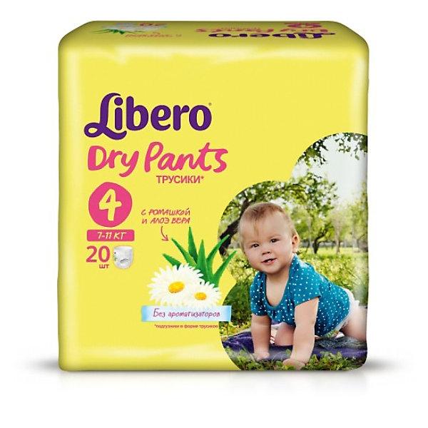 Трусики Libero Dry Pants, Maxi 7-11 кг, 20 шт.Трусики-подгузники<br>Трусики-подгузники Libero Dry Pants (Либеро Драй Пентс) Size 4 (7-11кг), 20 шт.<br><br>Характеристики: <br><br>• легко надевать<br>• мягкие и тонкие трусики<br>• отлично впитывают и удерживают влагу<br>• содержат экстракт ромашки<br>• тянущийся поясок из дышащих материалов<br>• барьеры вокруг ножек защищают от протекания<br>• не сковывают движений<br>• легко снимать и сворачивать<br>• размер: 4 (7-11 кг)<br>• количество в упаковке: 20 шт.<br><br>Если ваш малыш не любит спокойно ждать пока вы его переоденете, то трусики-подгузники Libero Dry Pants станут для вас прекрасным решением. Они легко надеваются, как обычное белье и также легко снимаются при разрывании боковых швов. Трусики очень мягкие и тонкие, при этом они отлично впитывают и удерживают влагу, не стесняя движений крохи. Экстракт ромашки и алоэ успокоит нежную кожу малыша. Высокие барьеры и эластичный поясок препятствуют протеканию. После использования вы легко сможете свернуть трусики и заклеить из специальной клейкой лентой. Яркая упаковка и привлекательный дизайн превратят процесс переодевания в веселую игру!<br><br>Трусики-подгузники Libero Dry Pants Size 4 (7-11кг), 20 шт. вы можете купить в нашем интернет-магазине.<br><br>Ширина мм: 147<br>Глубина мм: 195<br>Высота мм: 185<br>Вес г: 668<br>Возраст от месяцев: 6<br>Возраст до месяцев: 24<br>Пол: Унисекс<br>Возраст: Детский<br>SKU: 3517628