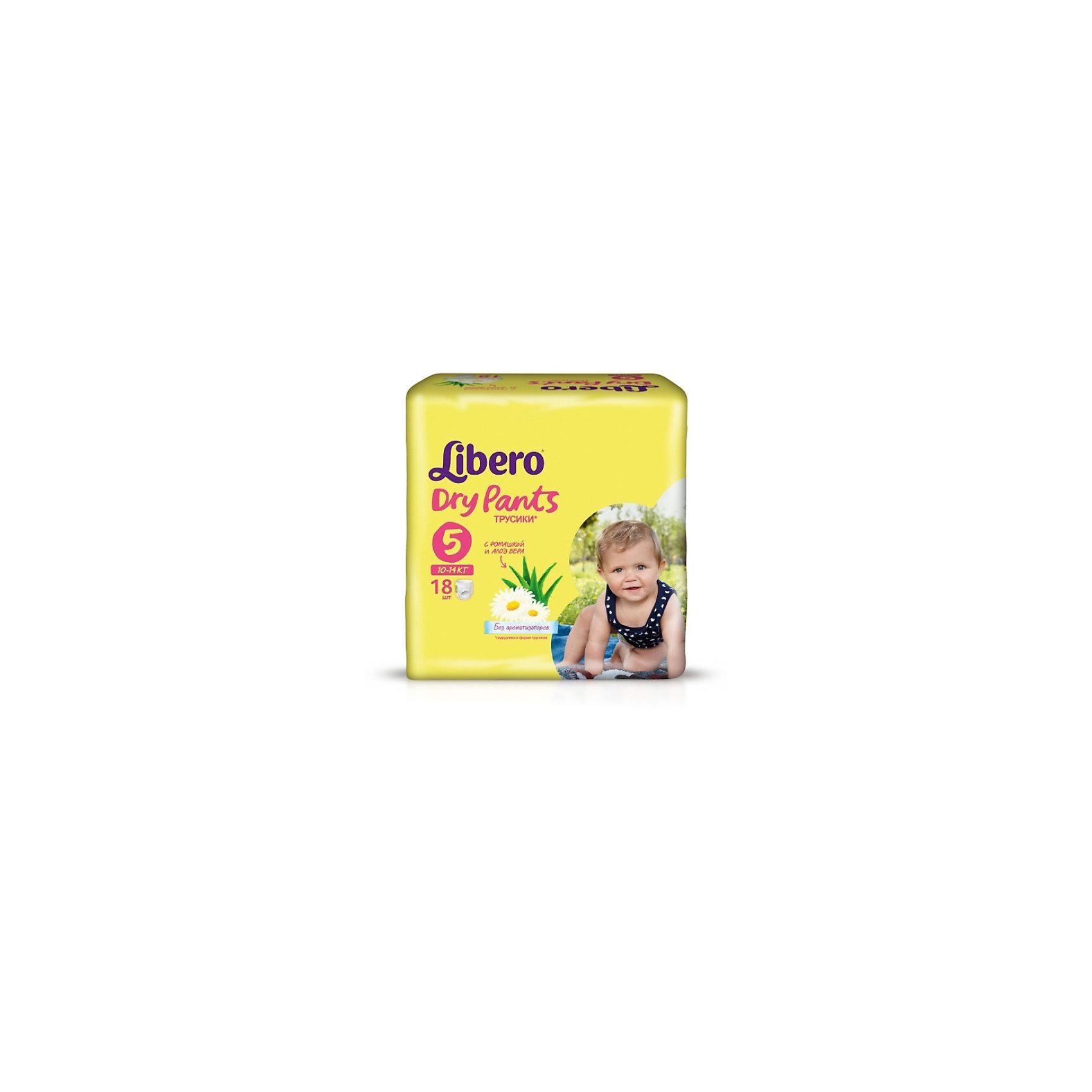 Трусики Libero Dry Pants, Maxi Plus 10-14 кг, 18 шт.Трусики-подгузники<br>Трусики-подгузники Libero Dry Pants (Либеро Драй Пентс) Size 5 (10-14кг), 18 шт.<br><br>Характеристики: <br><br>• легко надевать<br>• мягкие и тонкие трусики<br>• отлично впитывают и удерживают влагу<br>• содержат экстракт ромашки<br>• тянущийся поясок из дышащих материалов<br>• барьеры вокруг ножек защищают от протекания<br>• не сковывают движений<br>• легко снимать и сворачивать<br>• размер: 5 (10-14 кг)<br>• количество в упаковке: 18 шт.<br><br>Если ваш малыш не любит спокойно ждать пока вы его переоденете, то трусики-подгузники Libero Dry Pants станут для вас прекрасным решением. Они легко надеваются, как обычное белье и также легко снимаются при разрывании боковых швов. Трусики очень мягкие и тонкие, при этом они отлично впитывают и удерживают влагу, не стесняя движений крохи. Экстракт ромашки и алоэ успокоит нежную кожу малыша. Высокие барьеры и эластичный поясок препятствуют протеканию.  После использования вы легко сможете свернуть трусики и заклеить из специальной клейкой лентой. Яркая упаковка и привлекательный дизайн превратят процесс переодевания в веселую игру!<br><br>Трусики-подгузники Libero Dry Pants Size 5 (10-14кг), 18 шт. вы можете купить в нашем интернет-магазине.<br><br>Ширина мм: 147<br>Глубина мм: 195<br>Высота мм: 185<br>Вес г: 662<br>Возраст от месяцев: 6<br>Возраст до месяцев: 36<br>Пол: Унисекс<br>Возраст: Детский<br>SKU: 3517629