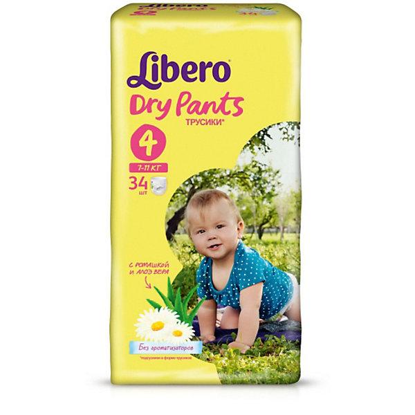 Трусики Libero Dry Pants, Maxi 7-11 кг, 34 шт.Трусики-подгузники<br>Характеристики:<br><br>• вес ребёнка: 7-11кг.;<br>• дышащий материал быстро впитывает влагу;<br>• эластичный пояс;<br>• количество в упаковке: 34шт.;<br>• для детей в возрасте: от 6 мес.;<br>• вес упаковки: 1.127кг;<br>• упаковка: пакет;<br>• страна бренда: Швеция.<br><br>Трусики-подгузники «Libero Dry Pants» (Либеро Драй Пэнтс) Max созданы специально для активных и любознательных малышей, которые все время в движении. Сейчас особенно важно, чтобы малышу всегда было удобно и комфортно.<br><br>Трусики Libero Dry Pants также комфортны, как обычное нижнее белье. Их легко надевать и снимать, что особенно важно для детей, которые уже пытаются самостоятельно одеваться. Малыш сможет сам снять трусики, если захочет на горшок, а чтобы снять уже наполненные трусики, достаточно разорвать боковые швы.<br><br>Трусики «Libero Dry Pants» (Либеро Драй Пэнтс) Maxi можно купить в нашем интернет-магазине.<br>Ширина мм: 147; Глубина мм: 195; Высота мм: 355; Вес г: 1135; Возраст от месяцев: 6; Возраст до месяцев: 24; Пол: Унисекс; Возраст: Детский; SKU: 3517632;