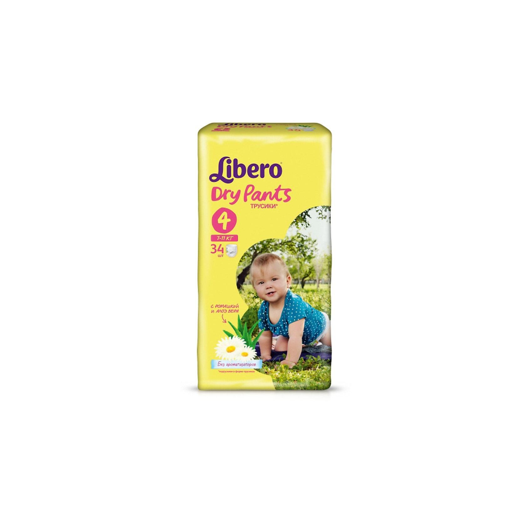 Трусики Libero Dry Pants, Maxi 7-11 кг, 34 шт.Трусики-подгузники<br>Трусики-подгузники Libero Dry Pants (Либеро Драй Пентс) Size 4 (7-11кг), 34 шт.<br><br>Характеристики: <br><br>• легко надевать<br>• мягкие и тонкие трусики<br>• отлично впитывают и удерживают влагу<br>• содержат экстракт ромашки<br>• тянущийся поясок из дышащих материалов<br>• барьеры вокруг ножек защищают от протекания<br>• не сковывают движений<br>• легко снимать и сворачивать<br>• размер: 4 (7-11 кг)<br>• количество в упаковке: 34 шт.<br><br>Если ваш малыш не любит спокойно ждать пока вы его переоденете, то трусики-подгузники Libero Dry Pants станут для вас прекрасным решением. Они легко надеваются, как обычное белье и также легко снимаются при разрывании боковых швов. Трусики очень мягкие и тонкие, при этом они отлично впитывают и удерживают влагу, не стесняя движений крохи. Экстракт ромашки и алоэ успокоит нежную кожу малыша. Высокие барьеры и эластичный поясок препятствуют протеканию.  После использования вы легко сможете свернуть трусики и заклеить из специальной клейкой лентой. Яркая упаковка и привлекательный дизайн превратят процесс переодевания в веселую игру!<br><br>Трусики-подгузники Libero Dry Pants Size 4 (7-11кг), 34 шт. вы можете купить в нашем интернет-магазине.<br><br>Ширина мм: 147<br>Глубина мм: 195<br>Высота мм: 355<br>Вес г: 1135<br>Возраст от месяцев: 6<br>Возраст до месяцев: 24<br>Пол: Унисекс<br>Возраст: Детский<br>SKU: 3517632