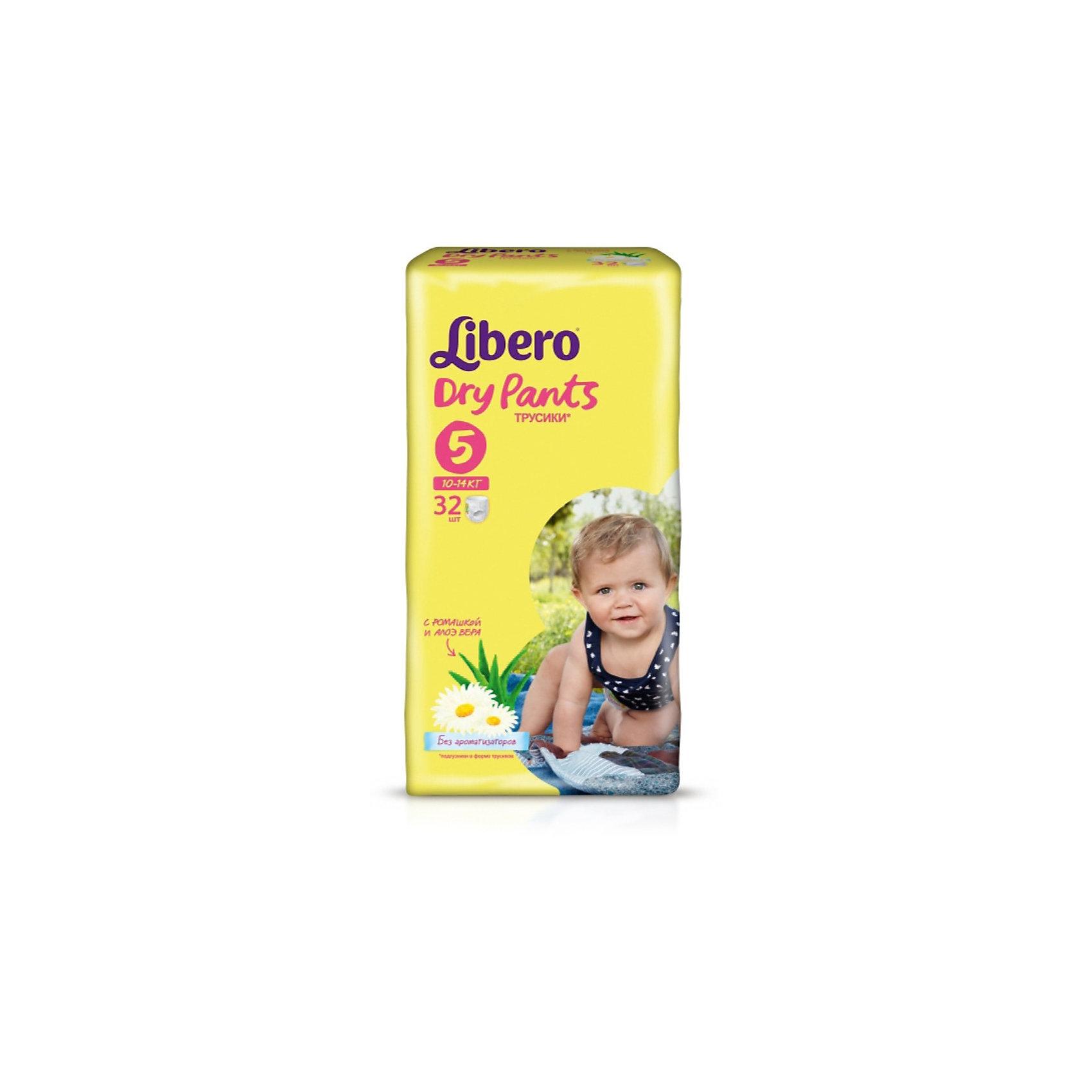 Трусики Libero Dry Pants, Maxi Plus 10-14 кг, 32 шт.Трусики-подгузники<br>Трусики-подгузники Libero Dry Pants (Либеро Драй Пентс) Size 5 (10-14кг), 32 шт.<br><br>Характеристики: <br><br>• легко надевать<br>• мягкие и тонкие трусики<br>• отлично впитывают и удерживают влагу<br>• содержат экстракт ромашки<br>• тянущийся поясок из дышащих материалов<br>• барьеры вокруг ножек защищают от протекания<br>• не сковывают движений<br>• легко снимать и сворачивать<br>• размер: 5 (10-14 кг)<br>• количество в упаковке: 32 шт.<br><br>Если ваш малыш не любит спокойно ждать пока вы его переоденете, то трусики-подгузники Libero Dry Pants станут для вас прекрасным решением. Они легко надеваются, как обычное белье и также легко снимаются при разрывании боковых швов. Трусики очень мягкие и тонкие, при этом они отлично впитывают и удерживают влагу, не стесняя движений крохи. Экстракт ромашки и алоэ успокоит нежную кожу малыша. Высокие барьеры и эластичный поясок препятствуют протеканию.  После использования вы легко сможете свернуть трусики и заклеить из специальной клейкой лентой. Яркая упаковка и привлекательный дизайн превратят процесс переодевания в веселую игру!<br><br>Трусики-подгузники Libero Dry Pants Size 5 (10-14кг), 32 шт. вы можете купить в нашем интернет-магазине.<br><br>Ширина мм: 147<br>Глубина мм: 195<br>Высота мм: 360<br>Вес г: 1175<br>Возраст от месяцев: 6<br>Возраст до месяцев: 36<br>Пол: Унисекс<br>Возраст: Детский<br>SKU: 3517633