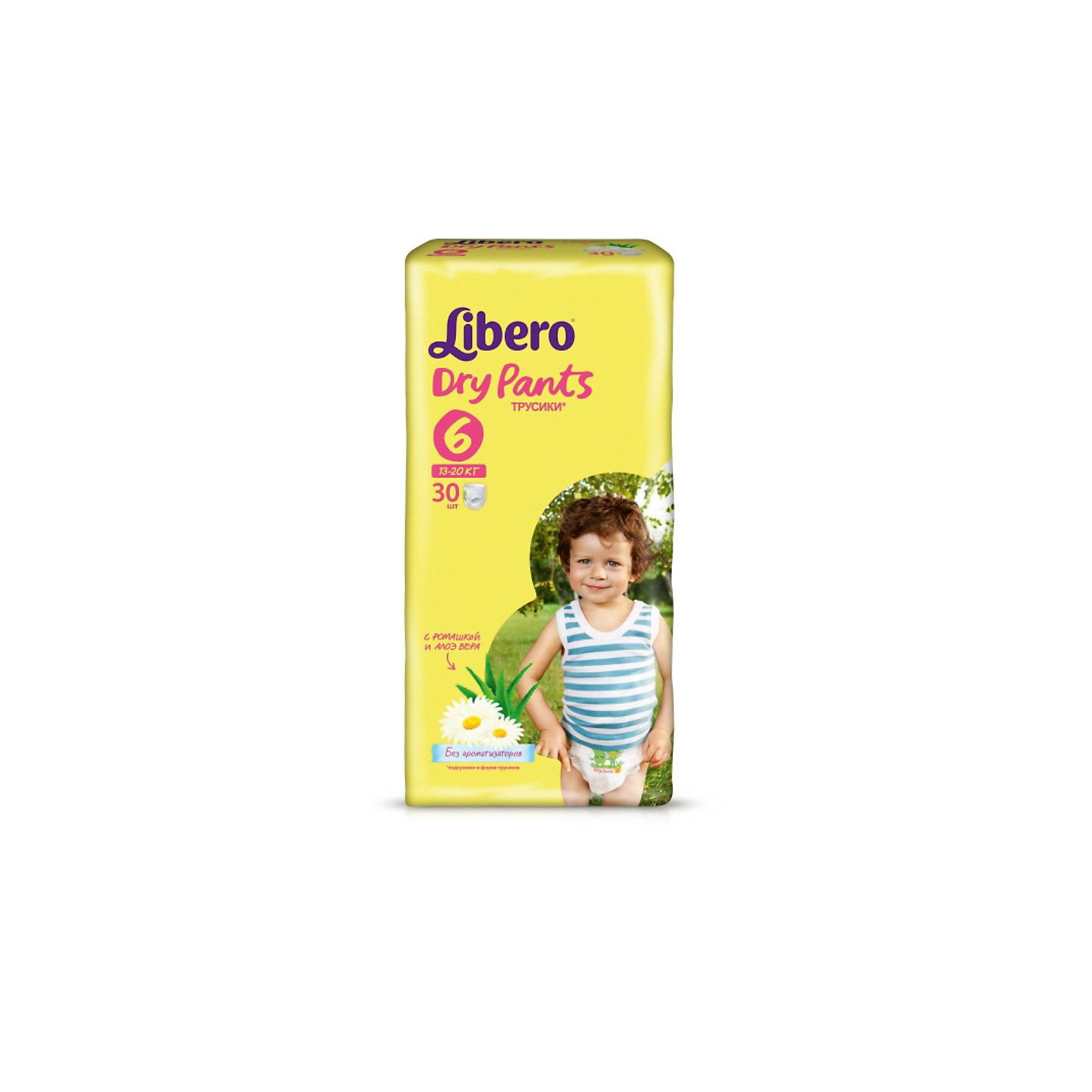 Трусики Libero Dry Pants, XL 13-20 кг, 30 шт.Трусики-подгузники<br>Трусики-подгузники Libero Dry Pants (Либеро Драй Пентс) Size 6 (13-20кг), 30 шт.<br><br>Характеристики: <br><br>• легко надевать<br>• мягкие и тонкие трусики<br>• отлично впитывают и удерживают влагу<br>• содержат экстракт ромашки<br>• тянущийся поясок из дышащих материалов<br>• барьеры вокруг ножек защищают от протекания<br>• не сковывают движений<br>• легко снимать и сворачивать<br>• размер: 6 (13-20 кг)<br>• количество в упаковке: 30 шт.<br><br>Если ваш малыш не любит спокойно ждать пока вы его переоденете, то трусики-подгузники Libero Dry Pants станут для вас прекрасным решением. Они легко надеваются, как обычное белье и также легко снимаются при разрывании боковых швов. Трусики очень мягкие и тонкие, при этом они отлично впитывают и удерживают влагу, не стесняя движений крохи. Экстракт ромашки и алоэ успокоит нежную кожу малыша. Высокие барьеры и эластичный поясок препятствуют протеканию.  После использования вы легко сможете свернуть трусики и заклеить из специальной клейкой лентой. Яркая упаковка и привлекательный дизайн превратят процесс переодевания в веселую игру!<br><br>Трусики-подгузники Libero Dry Pants Size 6 (13-20кг), 30 шт. вы можете купить в нашем интернет-магазине.<br><br>Ширина мм: 147<br>Глубина мм: 195<br>Высота мм: 370<br>Вес г: 1246<br>Возраст от месяцев: 12<br>Возраст до месяцев: 60<br>Пол: Унисекс<br>Возраст: Детский<br>SKU: 3517634