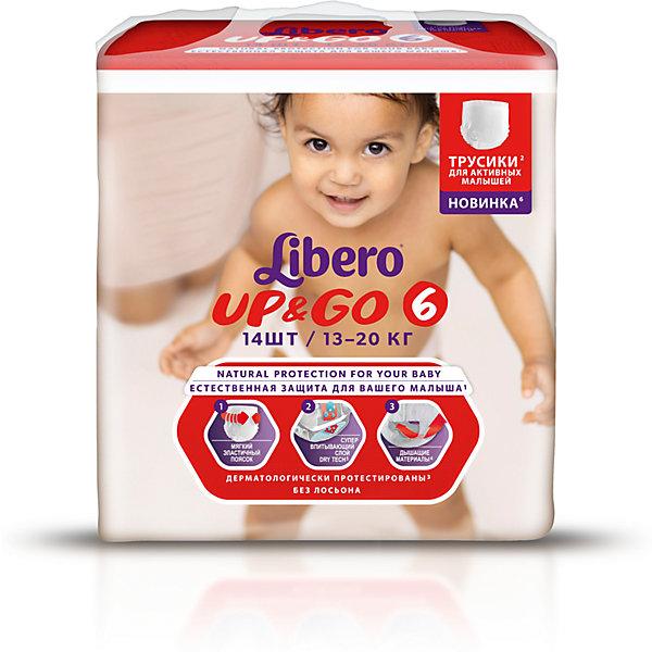 Трусики Up&amp;Go, XL 13-20 кг (6), 14 шт., LiberoТрусики-подгузники<br>Характеристики:<br><br>• вес ребёнка: 13-20кг.;<br>• дышащий материал быстро впитывает влагу;<br>• эластичный пояс;<br>• количество в упаковке: 14шт.;<br>• для детей в возрасте: от 18 мес.;<br>• вес упаковки: 1.2кг;<br>• упаковка: пакет;<br>• страна бренда: Швеция.<br><br>Трусики-подгузники «Libero Up&amp;Go» (Либеро Ап Энд Гоу) XL станут отличным приобретением для самых маленьких детишек. Они созданы из высококачественных, экологически чистых материалов, что очень важно для детских товаров.<br><br> В удобных подгузниках похожих на трусики малыш будет сухо и комфортно себя чувствовать, особенно во время подвижных игр и долгих прогулок. Дышащий нетканый материал быстро впитывает влагу с помощью специальных гранул и специально создан для нежной кожи. Трусики плотно прилегают с помощью эластичного пояска.           <br>              <br>Используя трусики « Libero»(Либеро) мамы подарят малышам уют и спокойствие на долгое время.<br><br>Трусики «Libero Up&amp;Go» (Либеро Ап Энд Гоу) XL можно купить в нашем интернет-магазине.<br>Ширина мм: 147; Глубина мм: 195; Высота мм: 204; Вес г: 604; Возраст от месяцев: 12; Возраст до месяцев: 60; Пол: Унисекс; Возраст: Детский; SKU: 3517642;