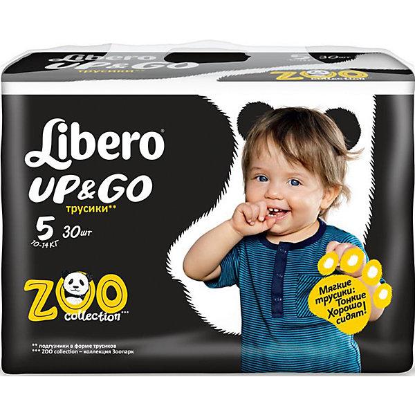 Трусики Up&amp;Go, Maxi Plus 10-14 кг (5), 30 шт., LiberoТрусики-подгузники<br>Трусики-подгузники Libero Up&amp;Go (Либеро ап энд гоу) Zoo Collection Size 5 (10-14кг), 30 шт.<br><br>Характеристики: <br><br>• легко надевать<br>• мягкие и тонкие трусики<br>• отлично впитывают и удерживают влагу<br>• тянущийся поясок из дышащих материалов<br>• барьеры вокруг ножек защищают от протекания<br>• не сковывают движений<br>• легко снимать и сворачивать<br>• привлекательный дизайн с животными<br>• размер: 5 (10-14 кг)<br>• количество в упаковке: 30 шт.<br><br>Трусики-подгузники Libero Up&amp;Go из коллекции Зоопарк идеально подойдут для самых активных малышей. Вы с легкостью сможете надеть трусики-подгузники, даже если ваш непоседа не любит спокойно сидеть. Несмотря на небольшую толщину, трусики отлично впитывают и удерживают влагу, не сковывая движений крохи. Барьеры вокруг ножек и эластичный пояс предотвратят возможные протекания. После использования вы легко снимите подгузник, разорвав боковые швы. Клеящая лента поможет закрепить использованный подгузник после сворачивания. Трусики имеют приятный дизайн, который понравится и ребенку, и родителям: 6 различных зверюшек, которых можно встретить в любом зоопарке. Предложите малышу изучить животных и выбрать, кого из них он хочет надеть. С этими трусиками-подгузниками процесс переодевания превратится в настоящую игру!<br><br>Трусики-подгузники Libero Up&amp;Go (Либеро ап энд гоу) Zoo Collection Size 5 (10-14кг), 30 шт. вы можете приобрести в нашем интернет-магазине.<br><br>Ширина мм: 147<br>Глубина мм: 390<br>Высота мм: 204<br>Вес г: 1185<br>Возраст от месяцев: 6<br>Возраст до месяцев: 36<br>Пол: Унисекс<br>Возраст: Детский<br>SKU: 3517647