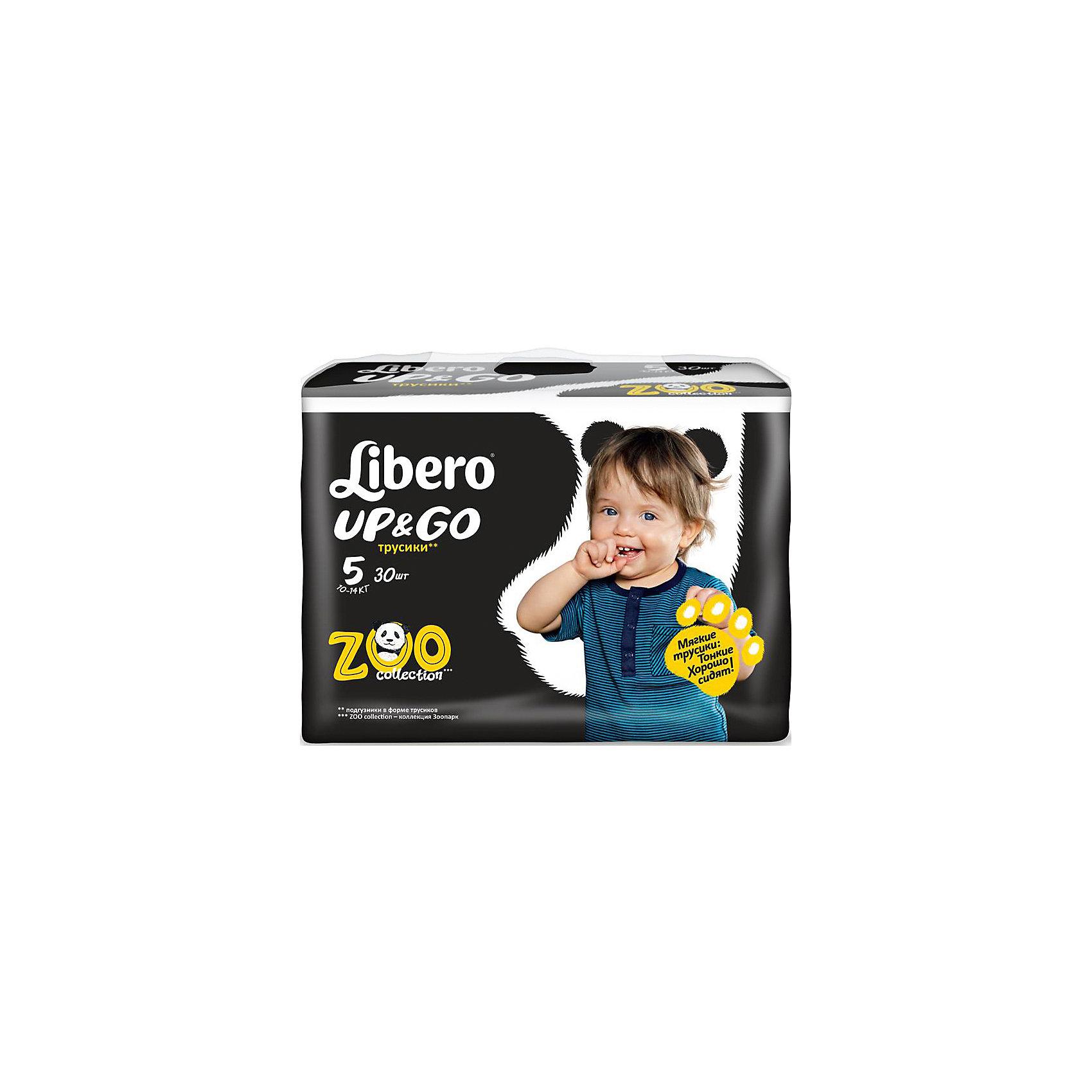 Трусики Up&amp;Go, Maxi Plus 10-14 кг (5), 30 шт., LiberoТрусики-подгузники Libero Up&amp;Go (Либеро ап энд гоу) Zoo Collection Size 5 (10-14кг), 30 шт.<br><br>Характеристики: <br><br>• легко надевать<br>• мягкие и тонкие трусики<br>• отлично впитывают и удерживают влагу<br>• тянущийся поясок из дышащих материалов<br>• барьеры вокруг ножек защищают от протекания<br>• не сковывают движений<br>• легко снимать и сворачивать<br>• привлекательный дизайн с животными<br>• размер: 5 (10-14 кг)<br>• количество в упаковке: 30 шт.<br><br>Трусики-подгузники Libero Up&amp;Go из коллекции Зоопарк идеально подойдут для самых активных малышей. Вы с легкостью сможете надеть трусики-подгузники, даже если ваш непоседа не любит спокойно сидеть. Несмотря на небольшую толщину, трусики отлично впитывают и удерживают влагу, не сковывая движений крохи. Барьеры вокруг ножек и эластичный пояс предотвратят возможные протекания. После использования вы легко снимите подгузник, разорвав боковые швы. Клеящая лента поможет закрепить использованный подгузник после сворачивания. Трусики имеют приятный дизайн, который понравится и ребенку, и родителям: 6 различных зверюшек, которых можно встретить в любом зоопарке. Предложите малышу изучить животных и выбрать, кого из них он хочет надеть. С этими трусиками-подгузниками процесс переодевания превратится в настоящую игру!<br><br>Трусики-подгузники Libero Up&amp;Go (Либеро ап энд гоу) Zoo Collection Size 5 (10-14кг), 30 шт. вы можете приобрести в нашем интернет-магазине.<br><br>Ширина мм: 147<br>Глубина мм: 390<br>Высота мм: 204<br>Вес г: 1185<br>Возраст от месяцев: 6<br>Возраст до месяцев: 36<br>Пол: Унисекс<br>Возраст: Детский<br>SKU: 3517647