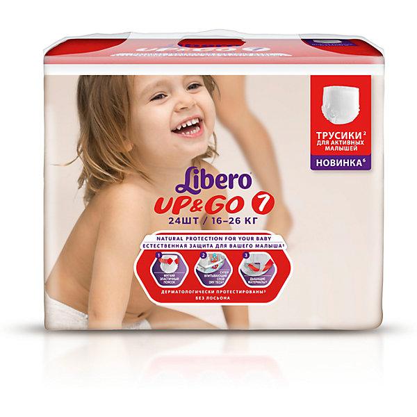 Трусики Up&amp;Go, XL Plus 16-26 кг (7), 24 шт., LiberoТрусики-подгузники<br>Характеристики:<br><br>• вес ребёнка: 16-26кг.;<br>• дышащий материал быстро впитывает влагу;<br>• эластичный пояс;<br>• количество в упаковке: 24шт.;<br>• для детей в возрасте: от 3лет;<br>• вес упаковки: 1.156кг;<br>• упаковка: пакет;<br>• страна бренда: Швеция.<br><br>Трусики-подгузники «Libero Up&amp;Go» (Либеро Ап Энд Гоу) XL Plus станут отличным приобретением для самых маленьких детишек. Они созданы из высококачественных, экологически чистых материалов, что очень важно для детских товаров.<br><br> В удобных подгузниках похожих на трусики малыш будет сухо и комфортно себя чувствовать, особенно во время подвижных игр и долгих прогулок. Дышащий нетканый материал быстро впитывает влагу c помощью специальных гранул и специально создан для нежной кожи. Трусики плотно прилегают с помощью эластичного пояска.    <br><br>Трусики «Libero Up&amp;Go» (Либеро Ап Энд Гоу) XL Plus можно купить в нашем интернет-магазине.<br>Ширина мм: 147; Глубина мм: 290; Высота мм: 210; Вес г: 1100; Возраст от месяцев: 24; Возраст до месяцев: 84; Пол: Унисекс; Возраст: Детский; SKU: 3517649;