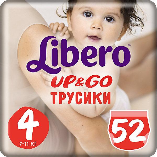 Трусики Up&amp;Go, Mega Maxi 7-11 кг (4), 52 шт., LiberoТрусики-подгузники<br>Трусики-подгузники Libero Up&amp;Go (Либеро ап энд гоу) Zoo Collection Size 4 (7-11кг), 52 шт.<br><br>Характеристики: <br><br>• легко надевать<br>• мягкие и тонкие трусики<br>• отлично впитывают и удерживают влагу<br>• тянущийся поясок из дышащих материалов<br>• барьеры вокруг ножек защищают от протекания<br>• не сковывают движений<br>• легко снимать и сворачивать<br>• привлекательный дизайн с животными<br>• размер: 4 (7-11кг)<br>• количество в упаковке: 52 шт.<br><br>Трусики-подгузники Libero Up&amp;Go из коллекции Зоопарк идеально подойдут для самых активных малышей. Вы с легкостью сможете надеть трусики-подгузники, даже если ваш непоседа не любит спокойно лежать. Несмотря на небольшую толщину, трусики отлично впитывают и удерживают влагу, не сковывая движений крохи. Барьеры вокруг ножек и эластичный пояс предотвратят возможные протекания. После использования вы легко снимите подгузник, разорвав боковые швы. Клеящая лента поможет закрепить использованный подгузник после сворачивания. Трусики имеют приятный дизайн, который понравится и ребенку, и родителям: 6 различных зверюшек, которых можно встретить в любом зоопарке. Предложите малышу изучить животных и выбрать, кого из них он хочет надеть. С этими трусиками-подгузниками процесс переодевания превратится в настоящую игру!<br><br>Трусики-подгузники Libero Up&amp;Go Zoo Collection Size 4 (7-11кг), 52 шт. вы можете приобрести в нашем интернет-магазине.<br><br>Ширина мм: 147<br>Глубина мм: 240<br>Высота мм: 380<br>Вес г: 1819<br>Возраст от месяцев: 6<br>Возраст до месяцев: 24<br>Пол: Унисекс<br>Возраст: Детский<br>SKU: 3517652