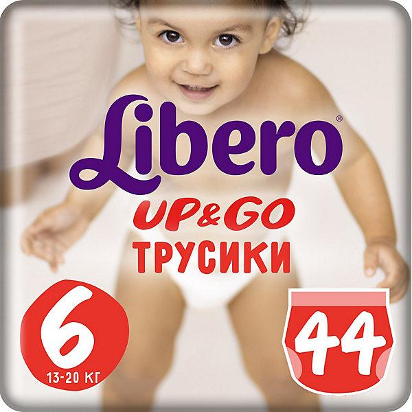 Трусики Up&amp;Go, Mega XL 13-20 кг (6), 44 шт., LiberoТрусики-подгузники<br>Характеристики:<br><br>• вес ребёнка: 13-20кг.;<br>• количество в упаковке: 44шт.;<br>• для детей в возрасте: от 1,5г.;<br>• дышащий материал быстро впитывает влагу;<br>• эластичный пояс;<br>• вес упаковки: 2кг;<br>• упаковка: пакет;<br>• страна бренда: Швеция.<br><br>Трусики-подгузники «Libero Up&amp;Go» (Либеро Ап Энд Гоу) Mega XL станут отличным приобретением для самых маленьких детишек. Они созданы из высококачественных, экологически чистых материалов, что очень важно для детских товаров.<br><br>В удобных подгузниках похожих на трусики малыш будет сухо и комфортно себя чувствовать, особенно во время подвижных игр и долгих прогулок. Дышащий нетканый материал быстро впитывает влагу с помощью специальных гранул и специально создан для нежной кожи. Трусики плотно прилегают с помощью эластичного пояска. <br><br>Трусики «Libero Up&amp;Go» (Либеро Ап Энд Гоу) Mega XL можно купить в нашем интернет-магазине.<br>Ширина мм: 147; Глубина мм: 250; Высота мм: 394; Вес г: 1881; Возраст от месяцев: 12; Возраст до месяцев: 60; Пол: Унисекс; Возраст: Детский; SKU: 3517654;