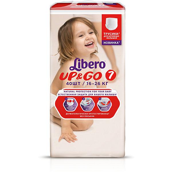 Трусики Up&amp;Go, Mega XL Plus 16-26 кг (7), 40 шт., LiberoТрусики-подгузники<br>Характеристики:<br><br>• вес ребёнка: 16-26кг.;<br>• дышащий материал быстро впитывает влагу;<br>• эластичный пояс;<br>• индикатор влаги;<br>• количество в упаковке: 40шт.;<br>• для детей в возрасте: от 2лет;<br>• вес упаковки: 2кг;<br>• упаковка: пакет;<br>• страна бренда: Швеция.<br><br>Трусики-подгузники «Libero Up&amp;Go» (Либеро Ап Энд Гоу) Mega XL Plus станут отличным приобретением для самых маленьких детишек. Они созданы из высококачественных, экологически чистых материалов, что очень важно для детских товаров.<br><br> В удобных подгузниках похожих на трусики малыш будет сухо и комфортно себя чувствовать, особенно во время подвижных игр и долгих прогулок. Дышащий нетканый материал быстро впитывает влагу с помощью специальных гранул и специально создан для нежной кожи. Трусики плотно прилегают с помощью эластичного пояска.   <br><br>Трусики «Libero Up&amp;Go» (Либеро Ап Энд Гоу) Mega XL Plus можно купить в нашем интернет-магазине.<br>Ширина мм: 147; Глубина мм: 240; Высота мм: 410; Вес г: 1827; Возраст от месяцев: 24; Возраст до месяцев: 84; Пол: Унисекс; Возраст: Детский; SKU: 3517655;