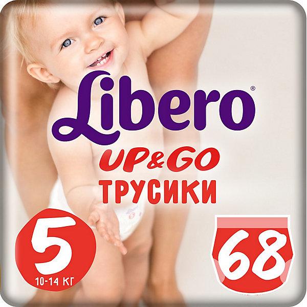 Трусики Up&amp;Go, Giga Maxi Plus 10-14 кг (5), 68 шт., LiberoТрусики-подгузники<br>Трусики-подгузники Libero Up&amp;Go (Либеро ап энд гоу) Zoo Collection Size 5 (10-14кг), 68 шт.<br><br>Характеристики: <br><br>• легко надевать<br>• мягкие и тонкие трусики<br>• отлично впитывают и удерживают влагу<br>• тянущийся поясок из дышащих материалов<br>• барьеры вокруг ножек защищают от протекания<br>• не сковывают движений<br>• легко снимать и сворачивать<br>• привлекательный дизайн с животными<br>• размер: 5 (10-14 кг)<br>• количество в упаковке: 68 шт.<br><br>Трусики-подгузники Libero Up&amp;Go из коллекции Зоопарк идеально подойдут для самых активных малышей. Вы с легкостью сможете надеть трусики-подгузники, даже если ваш непоседа не любит спокойно сидеть. Несмотря на небольшую толщину, трусики отлично впитывают и удерживают влагу, не сковывая движений крохи. Барьеры вокруг ножек и эластичный пояс предотвратят возможные протекания. После использования вы легко снимите подгузник, разорвав боковые швы. Клеящая лента поможет закрепить использованный подгузник после сворачивания. Трусики имеют приятный дизайн, который понравится и ребенку, и родителям: 6 различных зверюшек, которых можно встретить в любом зоопарке. Предложите малышу изучить животных и выбрать, кого из них он хочет надеть. С этими трусиками-подгузниками процесс переодевания превратится в настоящую игру!<br><br>Трусики-подгузники Libero Up&amp;Go Zoo Collection Size 5 (10-14кг), 68 шт. вы можете приобрести в нашем интернет-магазине.<br><br>Ширина мм: 147<br>Глубина мм: 390<br>Высота мм: 380<br>Вес г: 2669<br>Возраст от месяцев: 6<br>Возраст до месяцев: 36<br>Пол: Унисекс<br>Возраст: Детский<br>SKU: 3517657