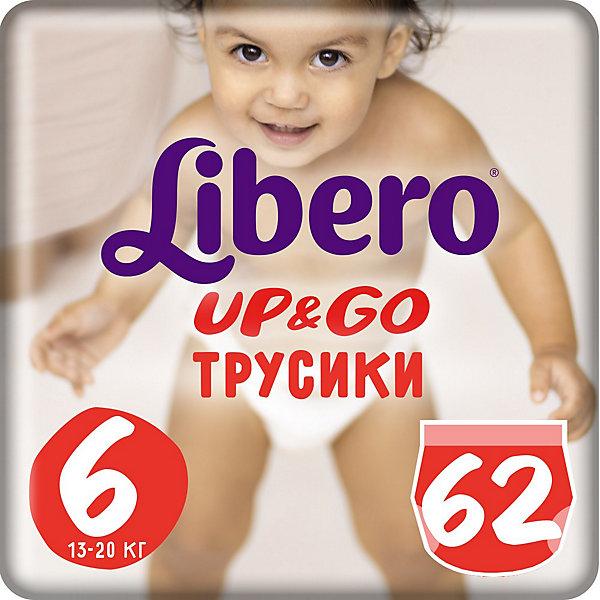 Трусики Up&amp;Go, Giga XL 13-20 кг (6), 62 шт., LiberoТрусики-подгузники<br>Трусики-подгузники Libero Up&amp;Go (Либеро ап энд гоу) Zoo Collection Size 6 (13-20кг), 62 шт.<br><br>Характеристики: <br><br>• легко надевать<br>• мягкие и тонкие трусики<br>• отлично впитывают и удерживают влагу<br>• тянущийся поясок из дышащих материалов<br>• барьеры вокруг ножек защищают от протекания<br>• не сковывают движений<br>• легко снимать и сворачивать<br>• привлекательный дизайн с животными<br>• размер: 6 (13-20 кг)<br>• количество в упаковке: 62шт.<br><br>Трусики-подгузники Libero Up&amp;Go из коллекции Зоопарк идеально подойдут для самых активных малышей. Вы с легкостью сможете надеть трусики-подгузники, даже если ваш непоседа не любит спокойно сидеть. Несмотря на небольшую толщину, трусики отлично впитывают и удерживают влагу, не сковывая движений крохи. Барьеры вокруг ножек и эластичный пояс предотвратят возможные протекания. После использования вы легко снимите подгузник, разорвав боковые швы. Клеящая лента поможет закрепить использованный подгузник после сворачивания. Трусики имеют приятный дизайн, который понравится и ребенку, и родителям: 6 различных зверюшек, которых можно встретить в любом зоопарке. Предложите малышу изучить животных и выбрать, кого из них он хочет надеть. С этими трусиками-подгузниками процесс переодевания превратится в настоящую игру!<br><br>Трусики-подгузники Libero Up&amp;Go Zoo Collection Size 6 (13-20кг), 62 шт. вы можете приобрести в нашем интернет-магазине.<br><br>Ширина мм: 147<br>Глубина мм: 390<br>Высота мм: 405<br>Вес г: 2653<br>Возраст от месяцев: 12<br>Возраст до месяцев: 60<br>Пол: Унисекс<br>Возраст: Детский<br>SKU: 3517658