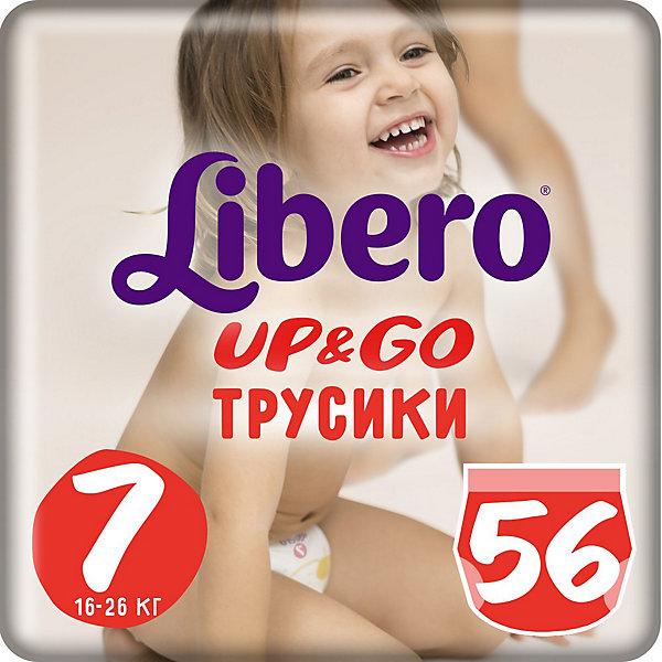 Трусики Up&amp;Go, Giga XL Plus 16-26 кг (7), 56 шт., LiberoТрусики-подгузники<br>Характеристики:<br><br>• вес ребёнка: 16-26кг.;<br>• количество в упаковке: 56шт.;<br>• для детей в возрасте: от 2лет;<br>• дышащий материал быстро впитывает влагу;<br>• эластичный пояс;<br>• индикатор влаги;<br>• вес упаковки: 2,5кг;<br>• упаковка: пакет;<br>• страна бренда: Швеция.<br><br>Трусики-подгузники «Libero Up&amp;Go» (Либеро Ап Энд Гоу) Giga XL Plus станут отличным приобретением для самых маленьких детишек. Они созданы из высококачественных, экологически чистых материалов, что очень важно для детских товаров.<br><br> В удобных подгузниках похожих на трусики малыш будет сухо и комфортно себя чувствовать, особенно во время подвижных игр и долгих прогулок. Дышащий нетканый материал быстро впитывает влагу c помощью специальных гранул и специально создан для нежной кожи. Трусики плотно прилегают с помощью эластичного пояска.<br>                     <br>Используя трусики « Libero»(Либеро) мамы подарят малышам уют и спокойствие на долгое время.<br><br>Трусики «Libero Up&amp;Go» (Либеро Ап Энд Гоу) Giga XL Plus можно купить в нашем интернет-магазине.<br>Ширина мм: 147; Глубина мм: 390; Высота мм: 410; Вес г: 2559; Возраст от месяцев: 24; Возраст до месяцев: 84; Пол: Унисекс; Возраст: Детский; SKU: 3517659;