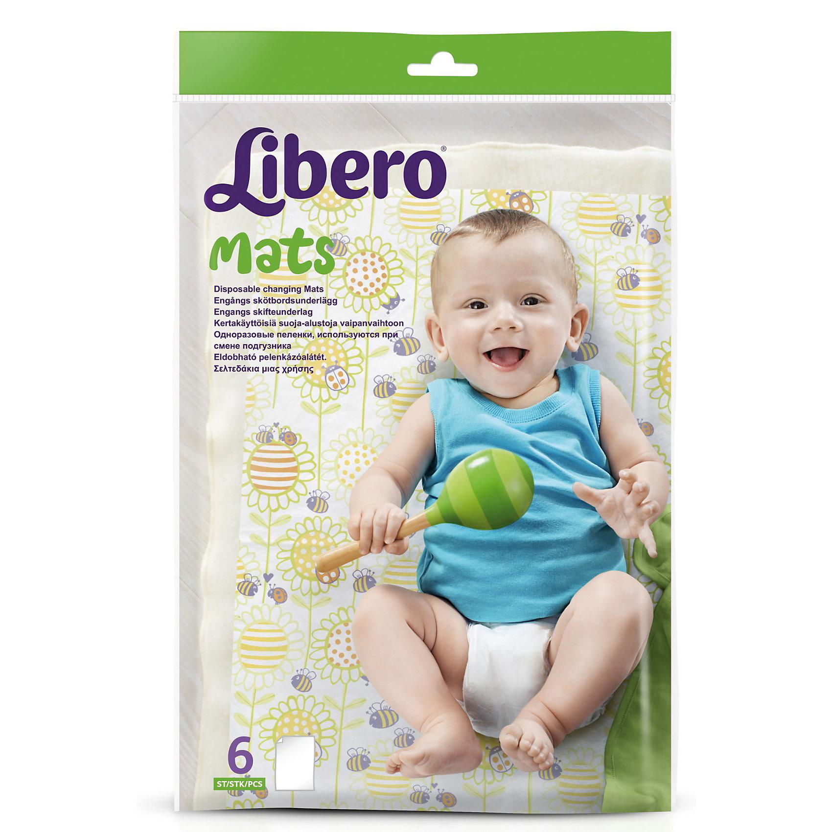 Одноразовые пеленки Libero Easy Change, 50х70 см, 6 шт.Пеленки Libero Mats, 10х6 шт.<br><br>Характеристики:<br><br>• выполнены из мягкого нетканого материала<br>• хорошо впитывают влагу<br>• приятный дизайн<br>• компактная упаковка<br>• размер: 50х70 см<br><br>Пеленки Libero Mats отлично подойдут для смены подгузника вне дома. Они защитят малыша от грязи и бактерий и хорошо впитают влагу, не раздражая кожу крохи. Компактная упаковка позволяет брать пеленки с собой в поликлинику, в гости или на массаж. <br><br>Пеленки Libero Mats, 10х6 шт. можно купить в нашем интернет-магазине.<br><br>Ширина мм: 28<br>Глубина мм: 185<br>Высота мм: 260<br>Вес г: 177<br>Возраст от месяцев: 0<br>Возраст до месяцев: 36<br>Пол: Унисекс<br>Возраст: Детский<br>SKU: 3517664