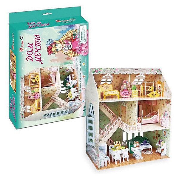 Пазл 3D Дом мечты, CubicFun3D пазлы<br>Яркий, красочный Пазл 3D Дом мечты, CubicFun (КубикФан) подойдет как для игры в куклы, так и для наглядности и украшения детской комнаты.<br><br>Данная модель входит в Рождественскую серию, поэтому она будет идеальным подарком на Новый год, на день Святого Николая или на Рождество. Пусть ваша дочь самостоятельно соберет свой домик мечты, тем более это так легко – без клея и ножниц. Достаточно просто выдавить нужные детали и соединить их друг с другом по схеме.<br>Игра с конструктором способствует развитию внимания, наблюдательности, логики и мелкой моторики рук<br><br>Дополнительная информация:<br><br>-Количество деталей: 160<br>-Размер в собранном виде: 16,8х26,2х31 см<br><br>3D будет идеальным подарком для любой девочки. Девочка получит самое настоящее удовольствие, а прекрасный домик может украсить её комнату. <br><br>Пазл 3D Дом мечты, CubicFun (КубикФан) можно купить в нашем магазине.<br>Ширина мм: 330; Глубина мм: 45; Высота мм: 220; Вес г: 575; Возраст от месяцев: 60; Возраст до месяцев: 144; Пол: Унисекс; Возраст: Детский; SKU: 3517824;