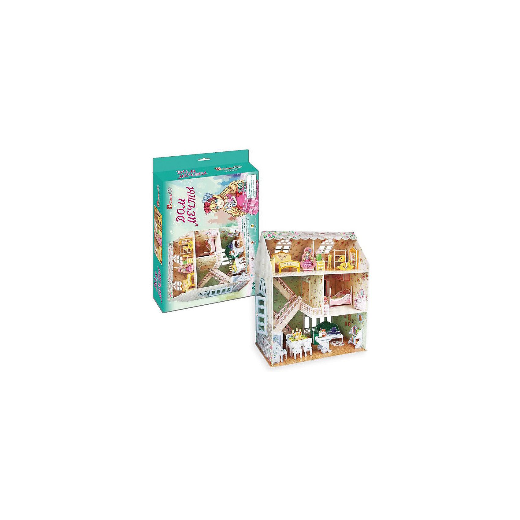 Пазл 3D Дом мечты, CubicFunИгрушечные домики и замки<br>Яркий, красочный Пазл 3D Дом мечты, CubicFun (КубикФан) подойдет как для игры в куклы, так и для наглядности и украшения детской комнаты.<br><br>Данная модель входит в Рождественскую серию, поэтому она будет идеальным подарком на Новый год, на день Святого Николая или на Рождество. Пусть ваша дочь самостоятельно соберет свой домик мечты, тем более это так легко – без клея и ножниц. Достаточно просто выдавить нужные детали и соединить их друг с другом по схеме.<br>Игра с конструктором способствует развитию внимания, наблюдательности, логики и мелкой моторики рук<br><br>Дополнительная информация:<br><br>-Количество деталей: 160<br>-Размер в собранном виде: 16,8х26,2х31 см<br><br>3D будет идеальным подарком для любой девочки. Девочка получит самое настоящее удовольствие, а прекрасный домик может украсить её комнату. <br><br>Пазл 3D Дом мечты, CubicFun (КубикФан) можно купить в нашем магазине.<br><br>Ширина мм: 330<br>Глубина мм: 45<br>Высота мм: 220<br>Вес г: 575<br>Возраст от месяцев: 60<br>Возраст до месяцев: 144<br>Пол: Унисекс<br>Возраст: Детский<br>SKU: 3517824