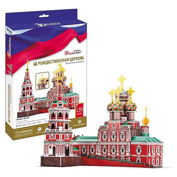 Пазл 3D Рождественская церковь (Россия), CubicFun3D пазлы<br>Пазл 3D Рождественская церковь (Россия), CubicFun (КубикФан) станет не только увлекательной игрушкой для вашего ребенка, но и познакомит его с окружающим миром. <br>Рождественская церковь до сих пор является основным символом Нижнего Новгорода и восхищает своей красотой не только русских, но иностранных туристов.<br><br>3D пазл собирается без клея, путем скрепления деталей друг с другом. Детали модели пронумерованы, и останется только выдавить нужные детали из общего числа и скрепить их согласно схеме.<br>Игра с конструктором способствует развитию внимания, наблюдательности, логики и мелкой моторики рук.<br><br>Дополнительная информация:<br><br>-Комплектация: 135 шт. деталей, инструкция<br>-Материал: ламинированный пенокартон, который обклеен тонким слоем картона с обеих сторон.<br><br>Подарите своему ребенку уникальный подарок, и ему обязательно понравится самостоятельно возводить уникальное сооружение, известное на всей территории России.<br><br>Пазл 3D Рождественская церковь (Россия), CubicFun (КубикФан) можно купить в нашем магазине.<br><br>Ширина мм: 220<br>Глубина мм: 35<br>Высота мм: 330<br>Вес г: 598<br>Возраст от месяцев: 60<br>Возраст до месяцев: 144<br>Пол: Унисекс<br>Возраст: Детский<br>SKU: 3517827