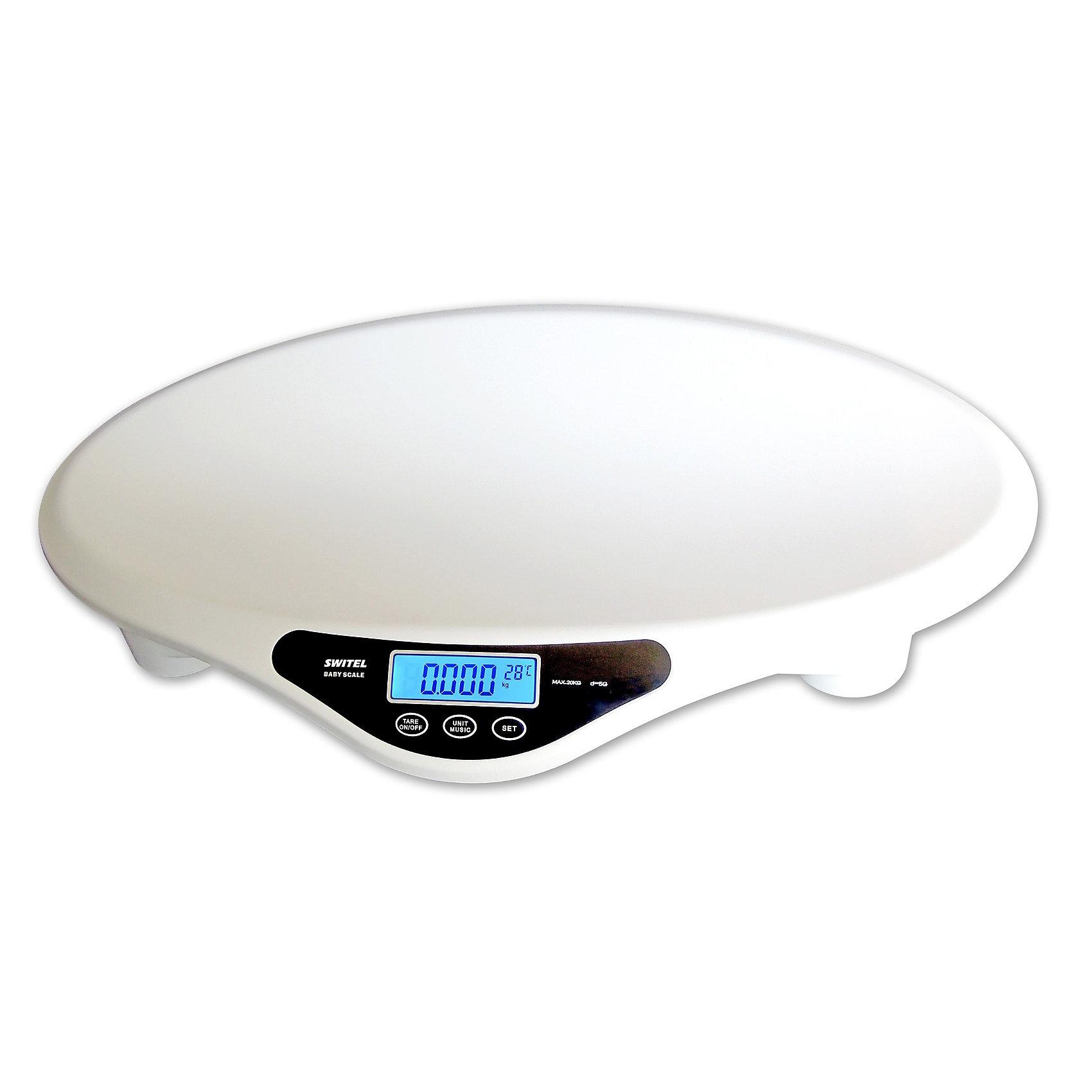 Детские электронные весы BH700, SwitelВесы для новорожденных BH700 от Switel помогут родителям в контроле за весом своего малыша.<br><br>Для того, чтобы отвлечь малыша от процесса взвешивания весы могут проигрывать 35 мелодий. Также имеется функция тара для взвешивания ребенка без пеленки для определения максимально точного веса.<br><br>Кроме того, весы позволяют еще и производить замеры роста ребенка при помощи входящей в набор ленты длиной 150 см, которая хранится в корпусе весов. Функция памяти позволяет просмотреть историю измерений: последние 10 результатов взвешивания сохраняются в памяти устройства.<br>Весы имеют функцию автоотключения и несколько видов предупреждений: индикация неустойчивого положения; индикация низкого заряда батареи, индикация перегрузки.<br><br>Дополнительная информация:<br><br>- Дисплей с подсветкой<br>- Измерение 0,1 кг до 20 кг с шагом 5 г<br>- Максимальный вес: 20 кг<br>- Индикация температуры<br>- Тара<br>- Питание: от 4-х батареек типа АА (не входят в комплект)<br>- История измерения до 10 записей<br>- Встроенный музыкальный плеер с 35 песнями<br>- Лента для измерения роста длиной 150 см<br>- Индикация низкого уровеня заряда<br>- Материал: пластик.<br>- Размер весов: 57 см х 37 см х 9 см.<br><br>Детские электронные весы BH700, Switel можно купить в нашем магазине.<br><br>Ширина мм: 700<br>Глубина мм: 462<br>Высота мм: 123<br>Вес г: 2574<br>Цвет: белый<br>Возраст от месяцев: 0<br>Возраст до месяцев: 36<br>Пол: Унисекс<br>Возраст: Детский<br>SKU: 3517841