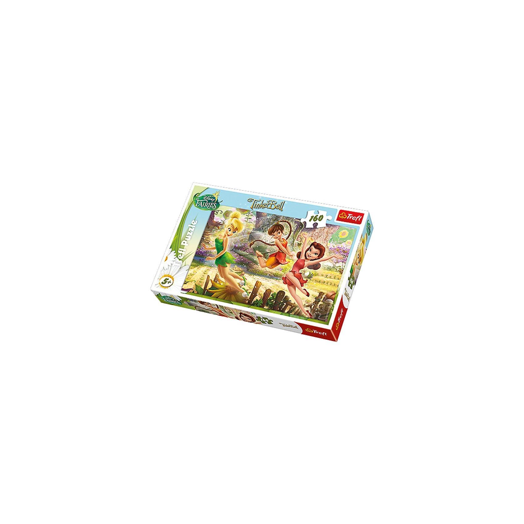 Пазлы «Игра Фей», 160 элементов, TreflПазлы для детей постарше<br>Количество деталей: 160 штук. <br>Размер сложенного изображения: 41х27,8 см. <br>Размер коробки: 28,8х19,3х4,1 см. <br>Очаровательные феи – Динь-Динь и ее подружки резвятся в волшебном лесу, полном удивительных цветов и солнечного света. Этот пазл нравится всем девочкам старше 5 лет, ведь собирать мозаику с изображением любимых героинь – так увлекательно!  Пазл «Феи веселятся» выполнен по официальной лицензии студии Disney. <br>Игра выпущена польским брендом Trefl, известным своими пазлами во всем мире. Дело в том, что это пазлы высочайшего качества, изготавливающиеся из каландрированной бумаги, что позволяет приобрести им невероятную гладкость и яркие насыщенные цвета, которые не стираются со временем. Кроме того, это экологически чистая продукция, не способная нанести вреда ребенку и окружающей среде.<br><br>Ширина мм: 287<br>Глубина мм: 198<br>Высота мм: 43<br>Вес г: 313<br>Возраст от месяцев: 84<br>Возраст до месяцев: 108<br>Пол: Женский<br>Возраст: Детский<br>Количество деталей: 160<br>SKU: 3522832