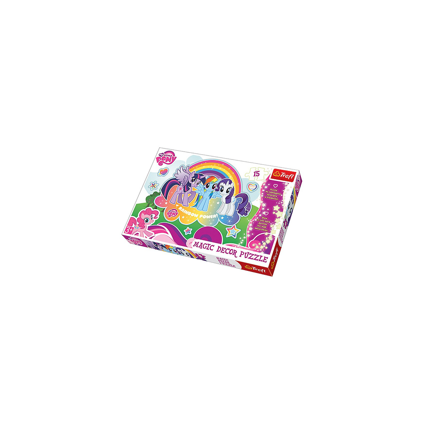 Пазл Мои маленькие пони, 15 светящихся деталей, TreflMy little Pony<br>Характеристики товара:<br><br>• возраст от 3 лет;<br>• материал: картон;<br>• в комплекте: 15 элементов, рамка;<br>• размер пазла 60х40 см;<br>• размер упаковки 40х26,6х4,5 см;<br>• вес упаковки 670 гр.;<br>• страна производитель: Польша.<br><br>Пазл «Мои маленькие пони» Trefl создан по мотивам мультфильма «My Little Pony». Это необычный пазл, а он светится в темноте. Для этого после его сборки надо снять защитную пленку, наклеить пазл на любую поверхность и наблюдать за ним вечером, выключив свет. Собирание пазла тренирует у детей моторику рук, внимательность и логическое мышление. Все элементы выполнены из качественных безвредных материалов.<br><br>Пазл «Мои маленькие пони» Trefl можно приобрести в нашем интернет-магазине.<br><br>Ширина мм: 397<br>Глубина мм: 269<br>Высота мм: 58<br>Вес г: 651<br>Возраст от месяцев: 36<br>Возраст до месяцев: 72<br>Пол: Женский<br>Возраст: Детский<br>Количество деталей: 15<br>SKU: 3522855