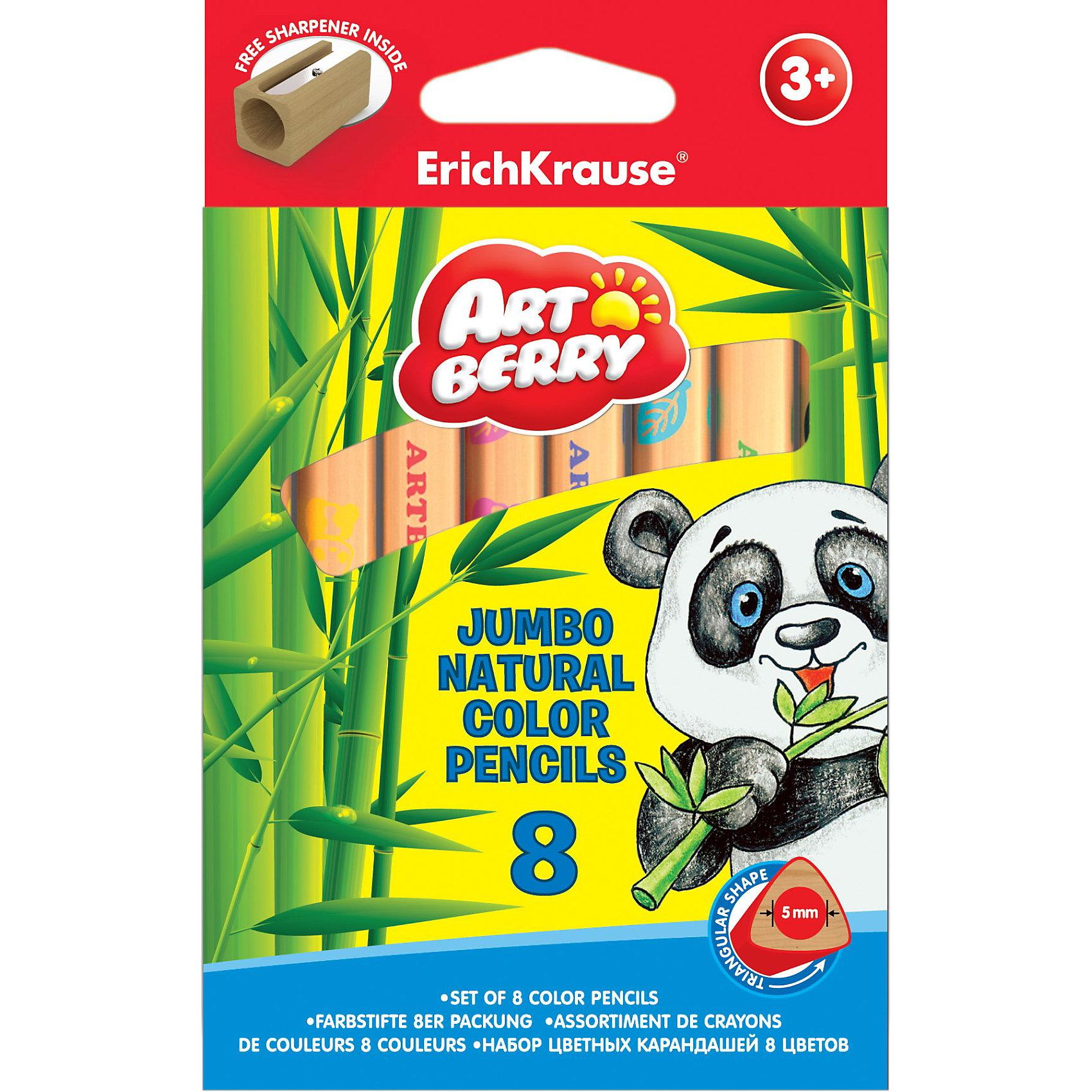 Цветные карандаши, 8цв., треугольн., с точилкой. Artberry nature JumboРисование<br>Набор цветных карандашей треугольного сечения  Erich Krause (Эрих Краузе) Artberry nature Jumbo. 8 цветов.<br>Карандаши отличаются яркими цветами, имеют прочный неломающийся грифель и легко затачиваются.<br><br>Дополнительная информация:<br><br>- в наборе: деревянная точилка<br>- грифель диаметром 5.0мм<br>- корпус треугольный<br><br>Цветные карандаши, 8цв., треугольн., с точилкой. Artberry nature Jumbo Erich Krause (Эрих Краузе) можно купить в нашем магазине.<br><br>Ширина мм: 150<br>Глубина мм: 95<br>Высота мм: 15<br>Вес г: 109<br>Возраст от месяцев: 36<br>Возраст до месяцев: 72<br>Пол: Унисекс<br>Возраст: Детский<br>SKU: 3525226