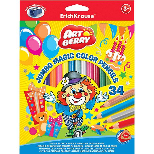 Цветные карандаши, 34цв., треугольн., с точилкой. Artberry JumboПисьменные принадлежности<br>Набор цветных карандашей Erich Krause (Эрих Краузе) Artberry Jumbo состоит из 20 карандашей классического цвета, а также 6 карандашей цвета металлик, 4 неонового цвета и 4  разноцветны карандаша. Все карандаши  выполнены в корпусе треугольного сечения. В комплект также входит точилка для карандашей.<br><br>Дополнительная информация:<br><br>- прочный неломающийся грифель<br>- диаметр грифеля 5.0мм,<br>- корпус треугольный<br>- размер упаковки: 19 х 2 х 24 см<br><br>Цветные карандаши, 34цв., треугольн., с точилкой. Artberry Jumbo можно купить в нашем магазине.<br>Ширина мм: 190; Глубина мм: 20; Высота мм: 240; Вес г: 478; Возраст от месяцев: 36; Возраст до месяцев: 72; Пол: Унисекс; Возраст: Детский; SKU: 3525227;