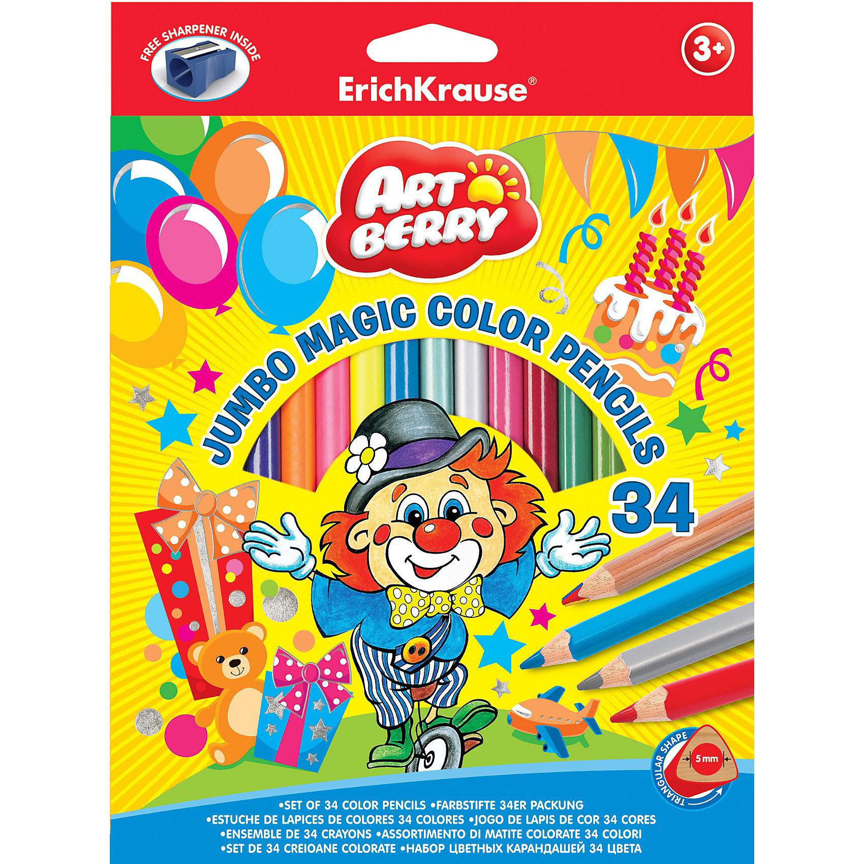 Цветные карандаши, 34цв., треугольн., с точилкой. Artberry JumboПисьменные принадлежности<br>Набор цветных карандашей Erich Krause (Эрих Краузе) Artberry Jumbo состоит из 20 карандашей классического цвета, а также 6 карандашей цвета металлик, 4 неонового цвета и 4  разноцветны карандаша. Все карандаши  выполнены в корпусе треугольного сечения. В комплект также входит точилка для карандашей.<br><br>Дополнительная информация:<br><br>- прочный неломающийся грифель<br>- диаметр грифеля 5.0мм,<br>- корпус треугольный<br>- размер упаковки: 19 х 2 х 24 см<br><br>Цветные карандаши, 34цв., треугольн., с точилкой. Artberry Jumbo можно купить в нашем магазине.<br><br>Ширина мм: 190<br>Глубина мм: 20<br>Высота мм: 240<br>Вес г: 478<br>Возраст от месяцев: 36<br>Возраст до месяцев: 72<br>Пол: Унисекс<br>Возраст: Детский<br>SKU: 3525227