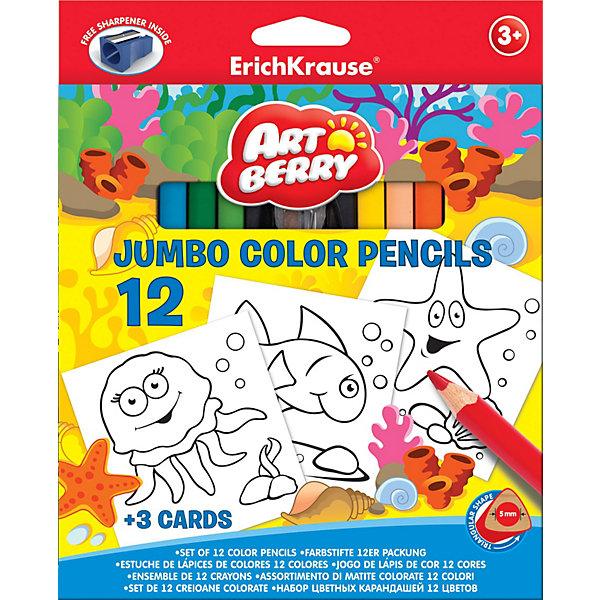 Цветные карандаши с точилкой + 3 раскраски, 12 цветов, Artberry JumboПисьменные принадлежности<br>В набор для творчества Erich Krause (Эрих Краузе) Artberry Jumbo входят цветные карандаши  в корпусе треугольного сечения в количестве 12 шт, точилка и  3 раскраски из картона. На раскрасках нанесены черно-белые контуры морских обитателей: осьминога, рыбки и звезды. Карандаши ярких цветов легко затачиваются. Набор способствует развитию творческих навыков у детей.<br><br>Дополнительная информация:<br><br>- грифель диаметром 5.0мм<br>- корпус треугольный<br><br>Цветные карандаши, 12цв., треугольн. с точилкой + 3 раскраски. Artberry Jumbo можно купить в нашем магазине.<br><br>Ширина мм: 215<br>Глубина мм: 175<br>Высота мм: 15<br>Вес г: 208<br>Возраст от месяцев: 36<br>Возраст до месяцев: 72<br>Пол: Унисекс<br>Возраст: Детский<br>SKU: 3525228