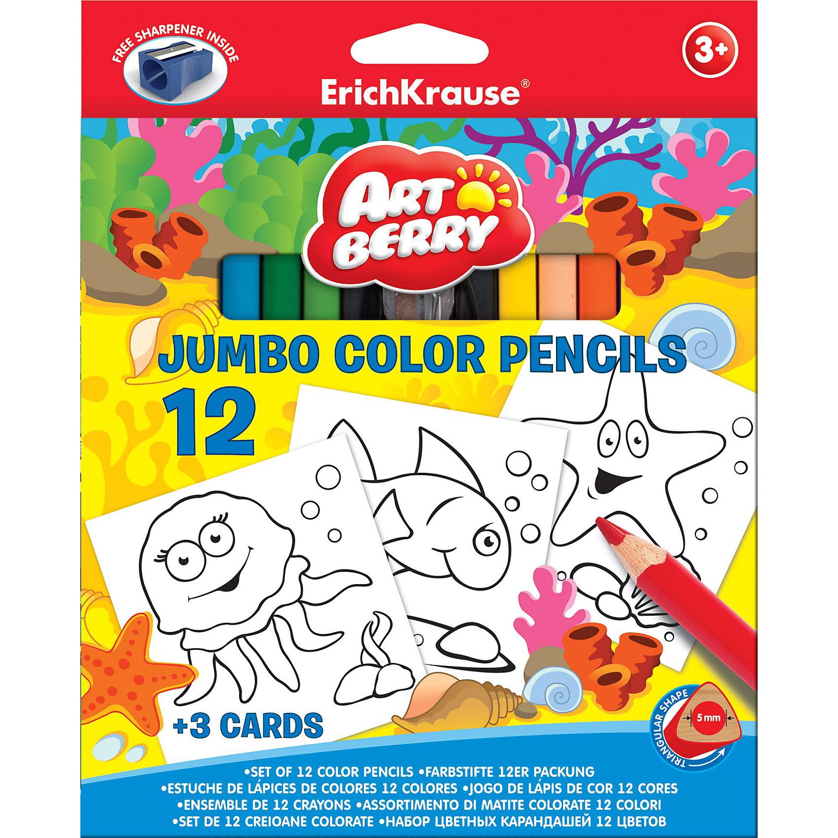 Цветные карандаши, 12цв., треугольн. с точилкой + 3 раскраски. Artberry JumboВ набор для творчества Erich Krause (Эрих Краузе) Artberry Jumbo входят цветные карандаши  в корпусе треугольного сечения в количестве 12 шт, точилка и  3 раскраски из картона. На раскрасках нанесены черно-белые контуры морских обитателей: осьминога, рыбки и звезды. Карандаши ярких цветов легко затачиваются. Набор способствует развитию творческих навыков у детей.<br><br>Дополнительная информация:<br><br>- грифель диаметром 5.0мм<br>- корпус треугольный<br><br>Цветные карандаши, 12цв., треугольн. с точилкой + 3 раскраски. Artberry Jumbo можно купить в нашем магазине.<br><br>Ширина мм: 215<br>Глубина мм: 175<br>Высота мм: 15<br>Вес г: 208<br>Возраст от месяцев: 36<br>Возраст до месяцев: 72<br>Пол: Унисекс<br>Возраст: Детский<br>SKU: 3525228