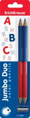 Erich Krause Двухцветные треугольные карандаши JUMBO c точилкой
