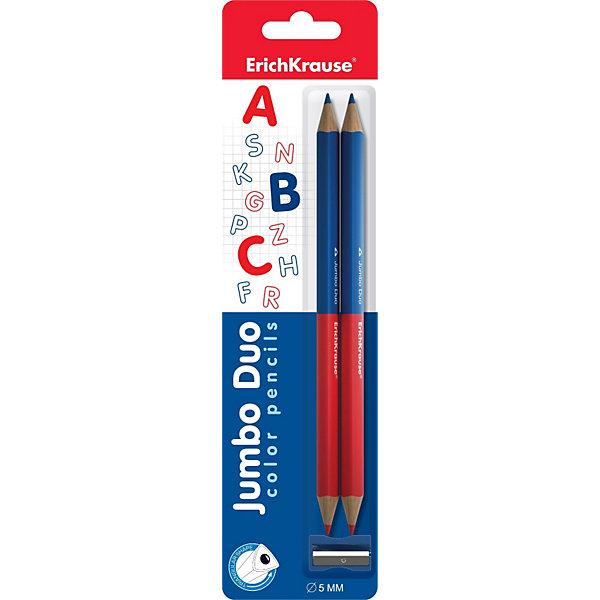 Двухцветные треугольные карандаши JUMBO c точилкойПисьменные принадлежности<br>Набор двухцветных карандашей Jumbo с точилкой от Erich Krause (Эрих Краузе). Карандаши с одной стороны синего цвета, с другой - красного. Прочный неломающийся грифель, легко затачиваются.<br><br>Дополнительная информация:<br><br>- Диаметр грифеля 5мм<br>- В комплекте 2 двухцветных карандаша и точилка<br><br>Двухцветные треугольные Jumbo карандаши c точилкой от Erich Krause (Эрих Краузе) можно купить в нашем магазине.<br>Ширина мм: 70; Глубина мм: 270; Высота мм: 10; Вес г: 44; Возраст от месяцев: 36; Возраст до месяцев: 72; Пол: Унисекс; Возраст: Детский; SKU: 3525229;