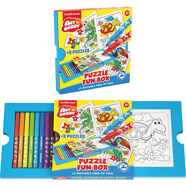 Набор для творчества Puzzle Fun box ArtberryНаборы для раскрашивания<br>Характеристики товара:<br><br>• материал: бумага <br>• в комплект входит: пазл – 3 шт, фломастеры – 12 цв<br>• возраст: от 3 лет<br>• габариты упаковки: 18х18,5х0,3 см<br>• вес: 292 г<br>• страна производитель: Китай<br><br>Сборка пазла и раскрашивание картинок – одно из любимых занятий всех малышей. Порадуйте своего ребенка уникальным набором, где раскраска представлена в виде пазл-картинки, которую сначала нужно собрать и только потом раскрашивать фломастерами, входящими в комплект!<br><br>Набор для творчества Puzzle Fun box Artberry можно купить в нашем интернет-магазине.<br><br>Ширина мм: 180<br>Глубина мм: 185<br>Высота мм: 30<br>Вес г: 292<br>Возраст от месяцев: 36<br>Возраст до месяцев: 2147483647<br>Пол: Унисекс<br>Возраст: Детский<br>SKU: 3525232