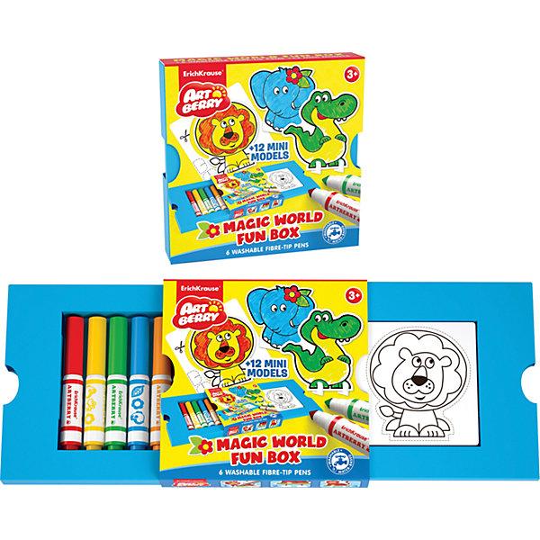 Набор для творчества Magic World Fun box ArtberryНаборы для раскрашивания<br>Характеристики товара:<br><br>• материал: бумага <br>• в комплект входит: картинки, фломастеры – 6 цв<br>• количество картинок: 12 шт<br>• возраст: от 3 лет<br>• длина фломастеров: 14 см<br>• габариты упаковки: 15,7х15,7х0,33 см<br>• вес: 208 г<br>• страна производитель: Китай<br><br>Удобная картонная упаковка хранит в себе уникальный набор для творчества. Внутри малыша ждет интересные картинки, который предстоит вырезать и раскрасить фломастерами, входящими в комплект.<br><br>Набор для творчества Magic World Fun box Artberry можно купить в нашем интернет-магазине.<br>Ширина мм: 157; Глубина мм: 157; Высота мм: 33; Вес г: 208; Возраст от месяцев: 36; Возраст до месяцев: 2147483647; Пол: Унисекс; Возраст: Детский; SKU: 3525233;