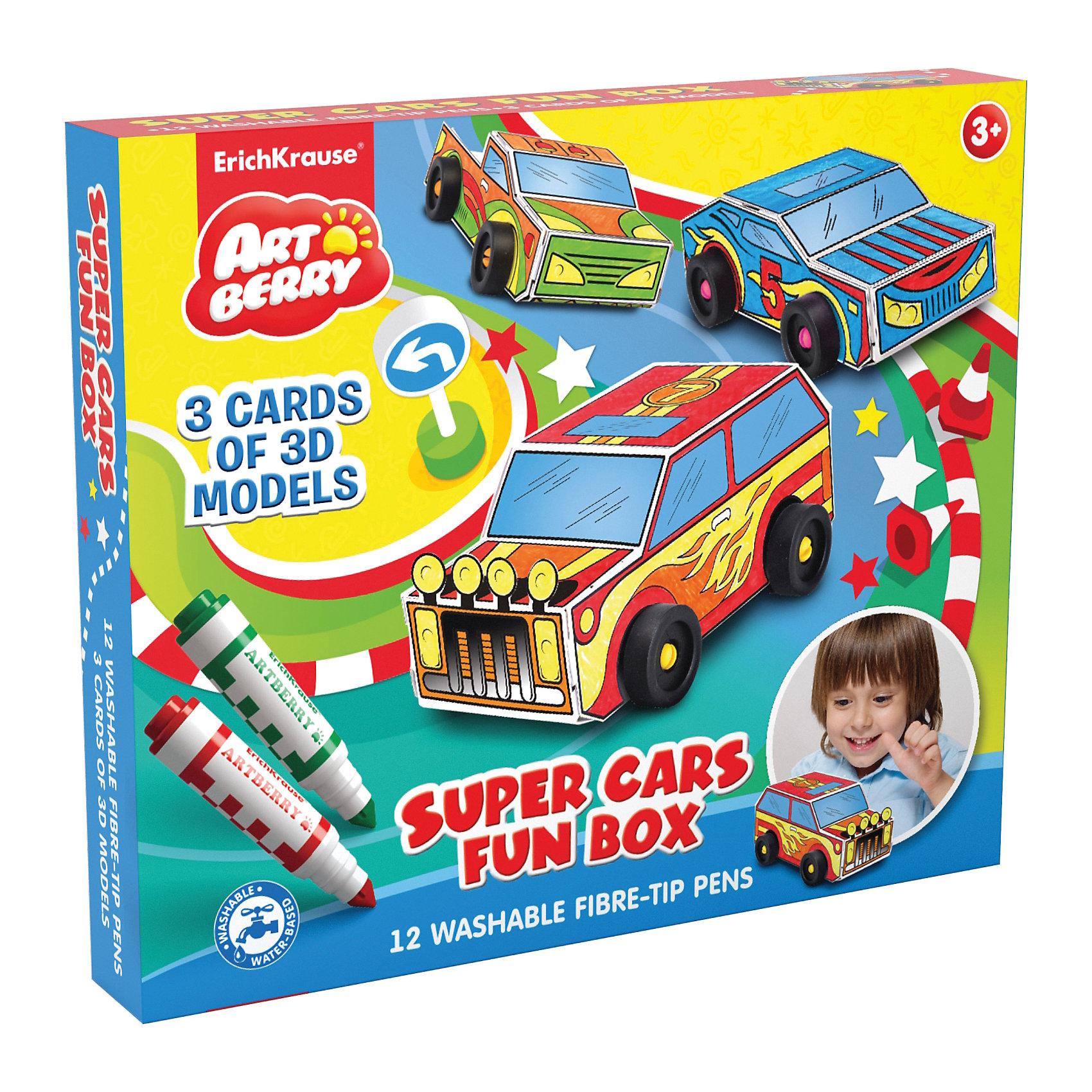 Набор для творчества Super Cars Fun box Artberry12 мини дажмбо фломастеров( super-tip наконечник)+ 3 модели машинок для сборки и раскрашивания<br><br>Ширина мм: 370<br>Глубина мм: 312<br>Высота мм: 52<br>Вес г: 958<br>Возраст от месяцев: 60<br>Возраст до месяцев: 216<br>Пол: Унисекс<br>Возраст: Детский<br>SKU: 3525235
