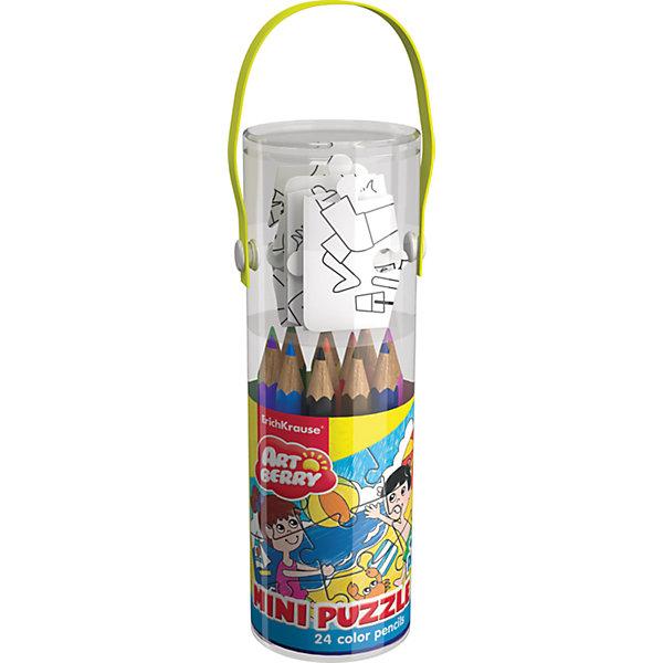 Набор для творчества ArtBerry Mini Puzzle set для раскрашиванияНаборы для раскрашивания<br>Набор для творчества ArtBerry/Mini Puzzle set 24 цветных карандаша + 9 элементов пазла для раскрашивания<br><br>Характеристики:<br><br>• В набор входит: пазл, карандаши, упаковка-тубус<br>• Количество деталей пазла: 9 шт.<br>• Карандаши: 24 цв.<br>• Размер упаковки: 19,5 * 4,8 * 4,8 см.<br>• Состав: картон, дерево, грифель<br>• Вес: 109 г.<br>• Для детей в возрасте: от 3 до 7 лет<br>• Страна производитель: Россия<br><br>Целых двадцать четыре цветных карандаша включены в этот отличный набор, который позволит создать любой шедевр. Шестигранные короткие карандаши ярко рисуют и не требуют дополнительного нажима. В творческий набор включен небольшой пазл из девяти деталей. На картинке изображены дети, играющие в мяч на морском пляже. <br><br>Рисуя с раскрасками дети развивают моторику рук и готовят руку к письму, развивают творческие способности, учатся подбирать цветовую гамму. Дети запоминают формы, учатся как правильно рисовать фигуры, улучшают внимание и концентрацию. Выполняя каждую раскраску растет и самооценка ребёнка, так как он сам справился с работой и довёл её до конца. С этим творческим набором ребёнок сможет проявить свои творческие способности и отлично провести время. <br><br>Набор для творчества ArtBerry/Mini Puzzle set 24 цветных карандаша + 9 элементов пазла для раскрашивания можно купить в нашем интернет-магазине.<br>Ширина мм: 48; Глубина мм: 195; Высота мм: 48; Вес г: 109; Возраст от месяцев: 60; Возраст до месяцев: 216; Пол: Унисекс; Возраст: Детский; SKU: 3525236;